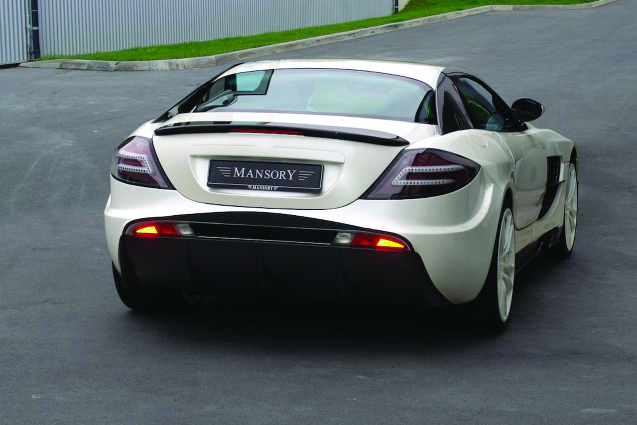 mansory mercedes benz slr renovatio carbon fiber wide body rear bumper diffuser wing angle