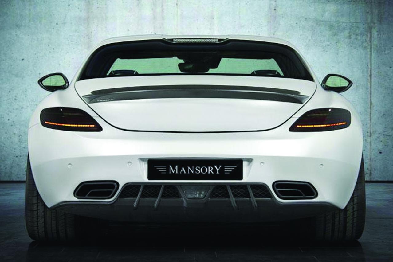 mansory mercedes benz sls amg soft kit carbon fiber rear bumper diffuser trunk wing spoiler