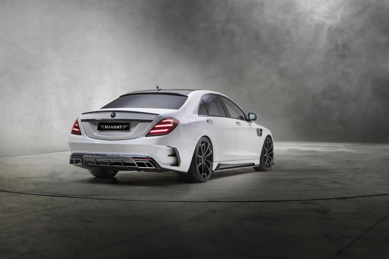 mansory mercedes benz w222 s63 body kit carbon fiber rear bumper outtake diffuser exhaust system tips trunk spoiler wing side skirt spider wheel rim