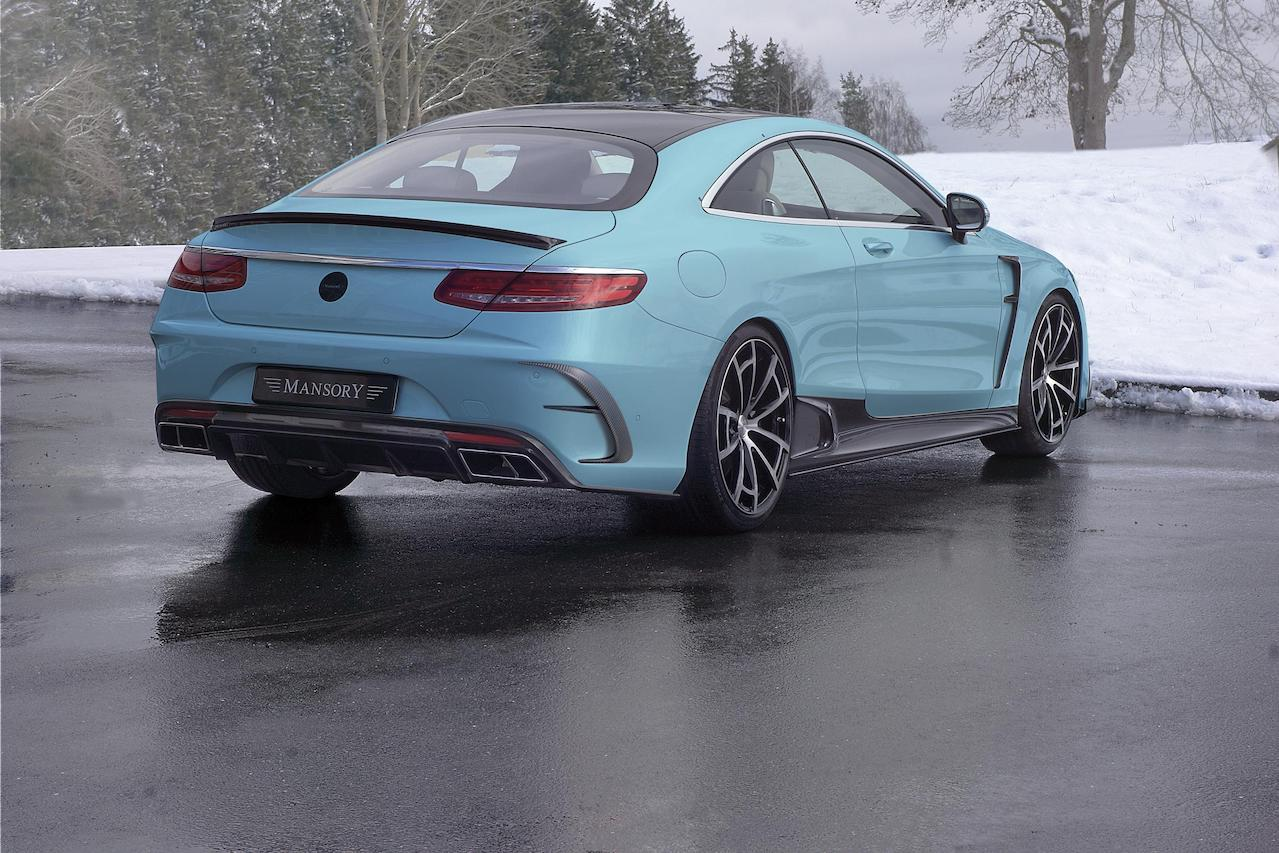mansory mercedes c217 s class coupe amg 63 65 blue carbon fiber body kit rear diffuser outtake exhaust system tip trunk wing spoiler side skirt fender spider wheel rim 2018