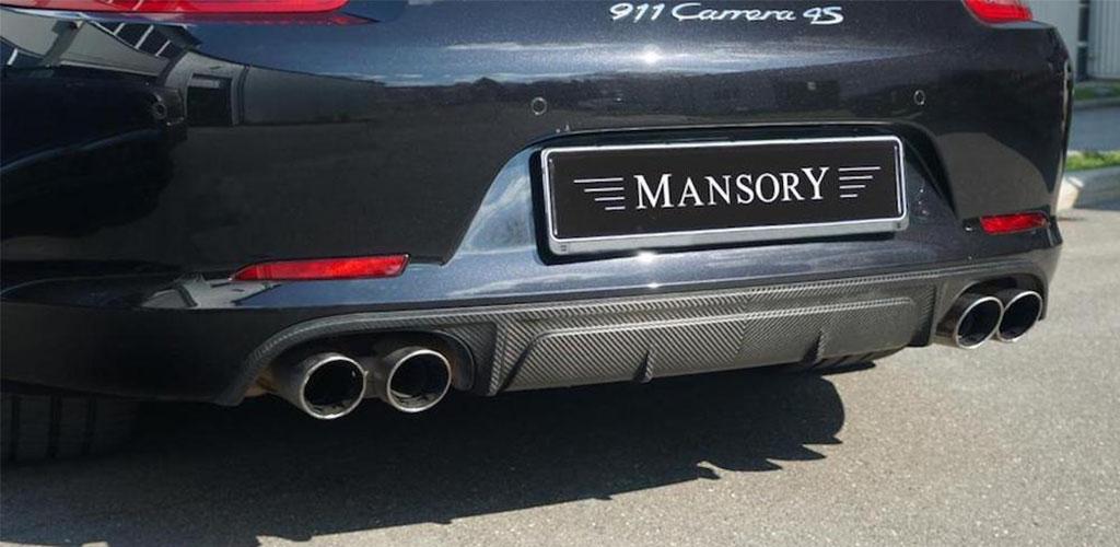 mansory porsche 911 991 black carbon fiber rear bumper diffuser