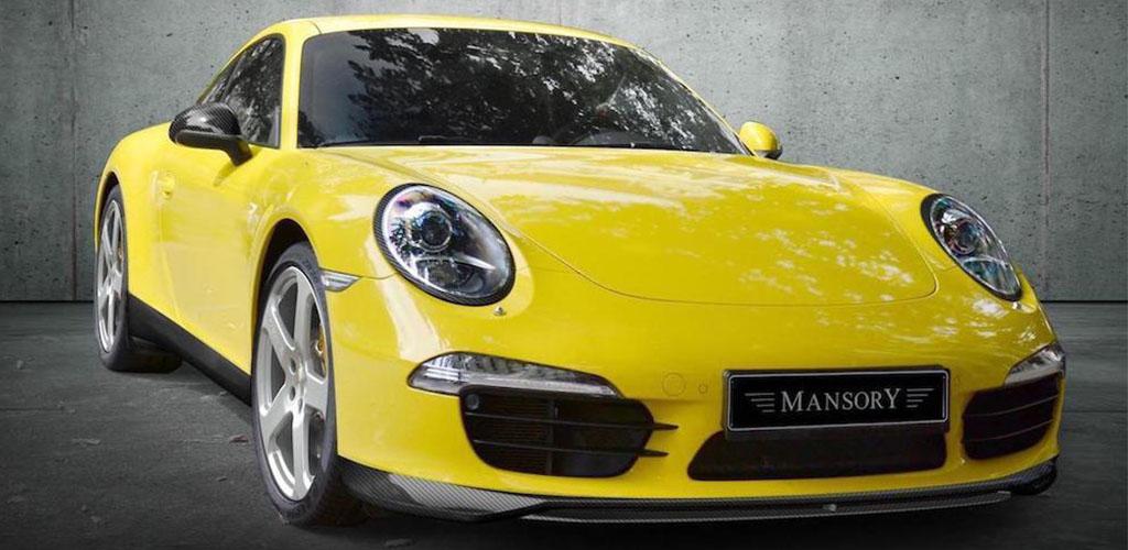 mansory porsche 911 991 yellow carbon fiber front lip spoiler side skirt set c51 wheel rim