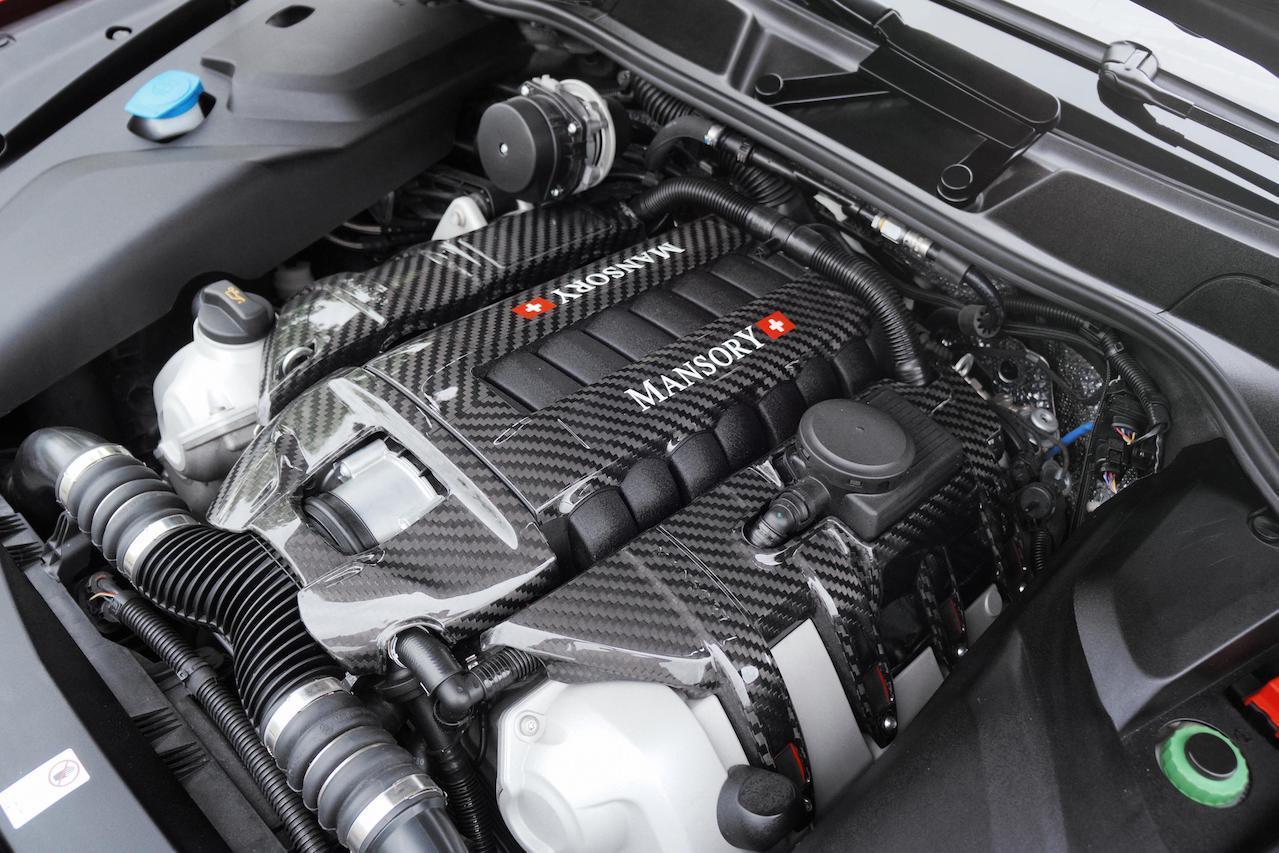 mansory porsche cayenne new carbon fiber engine cover