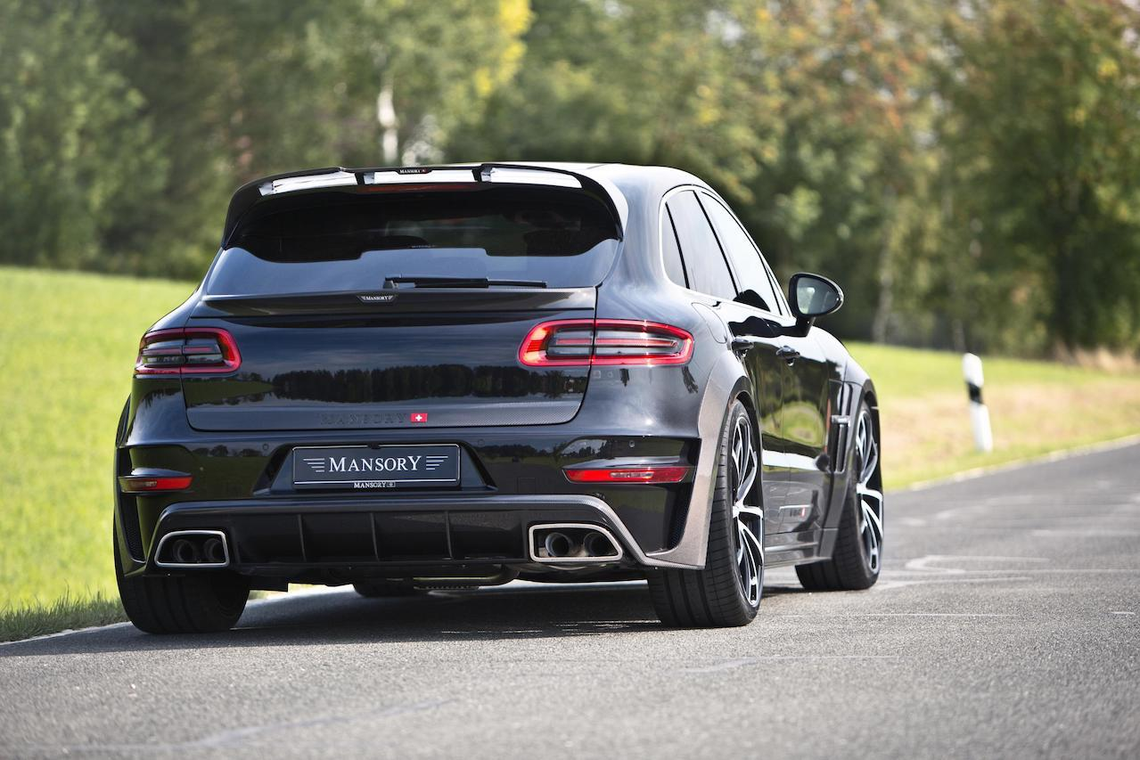mansory porsche macan wide body carbon fiber body kit rear bumper diffuser exhaust system tip roof spoiler trunk spoiler wing over fender spider wheel rim