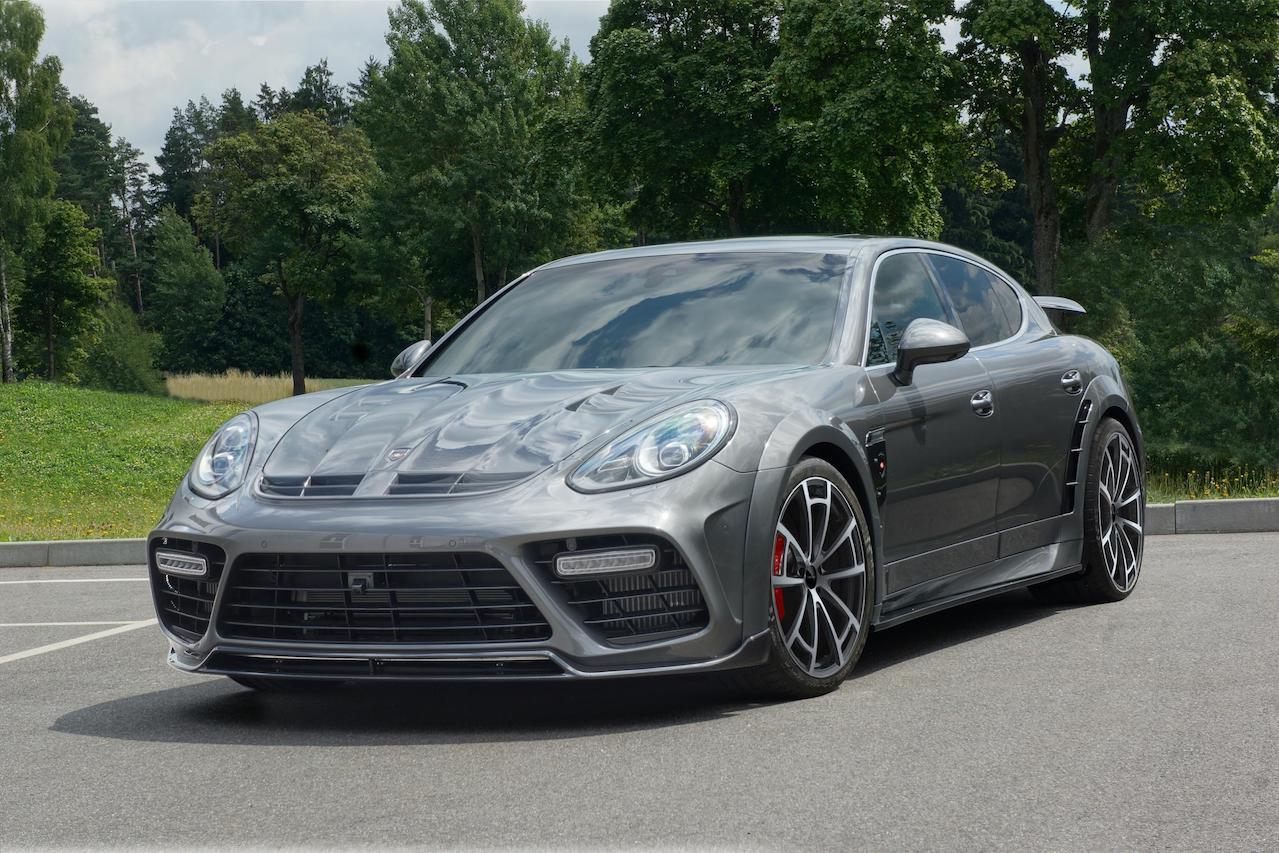 mansory porsche panamera 970 facelift wide body grey front bumper front lip spoiler cup insert carbon fiber hood mirror cover side skirt over fender set spider wheel 2014 2015 2016