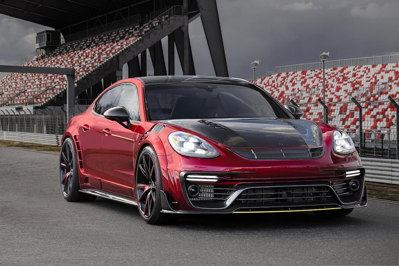 mansory porsche panamera 971 wide body red front bumper carbon fiber front lip vented fender carbon fiber hood over fender set side skirt y.5 wheel rim 2017 2018 2019