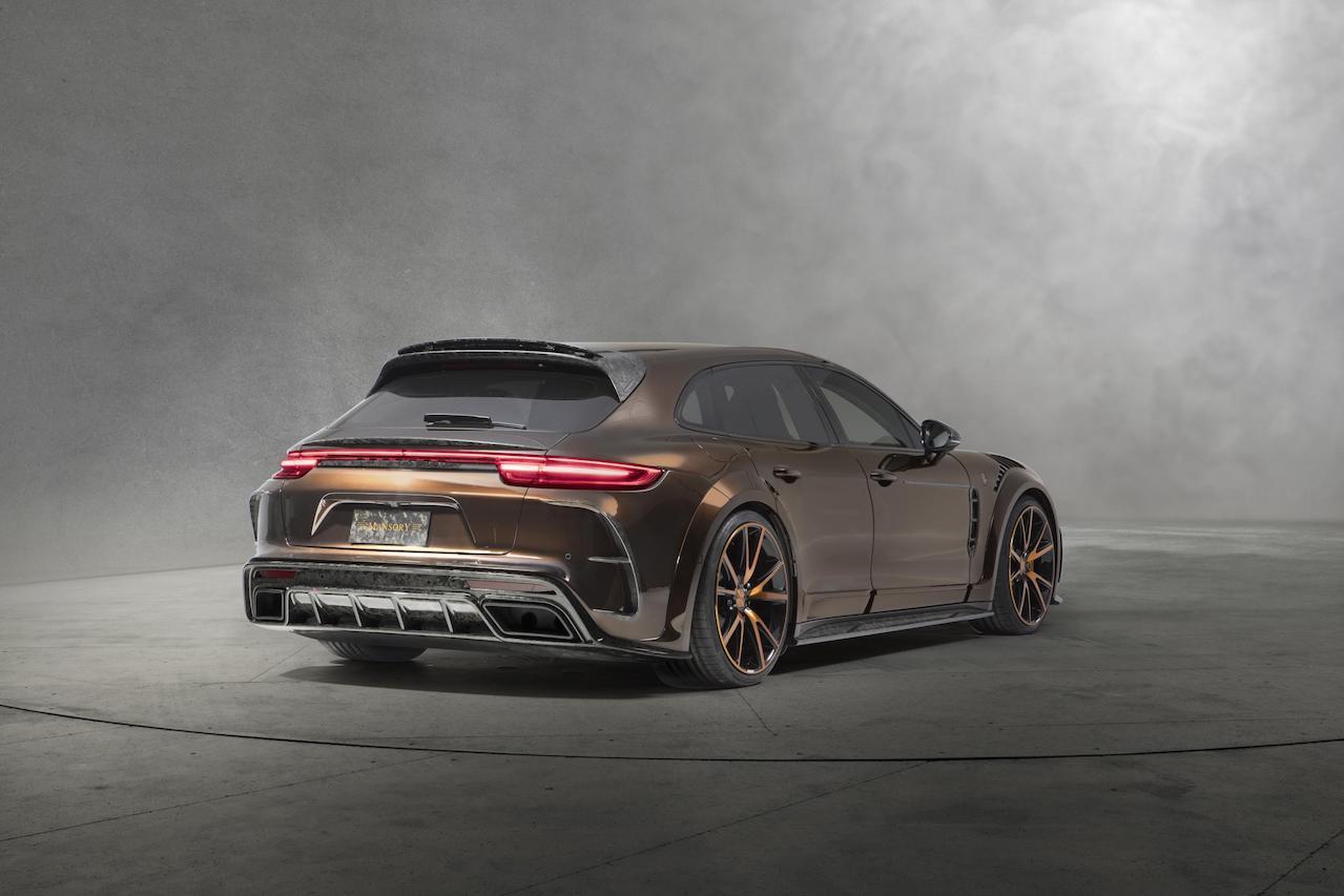 mansory porsche panamera sport turismo wide body rear rear bumper carbon fiber diffuser rear spoiler y51 wheels rims 2018