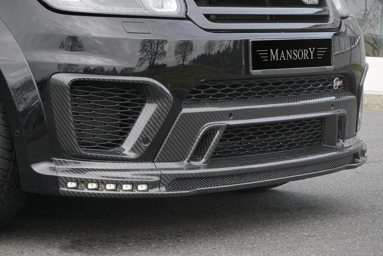 mansory range rover sport svr wide body kit carbon fiber front bumper lip spoiler air intake cover led drl