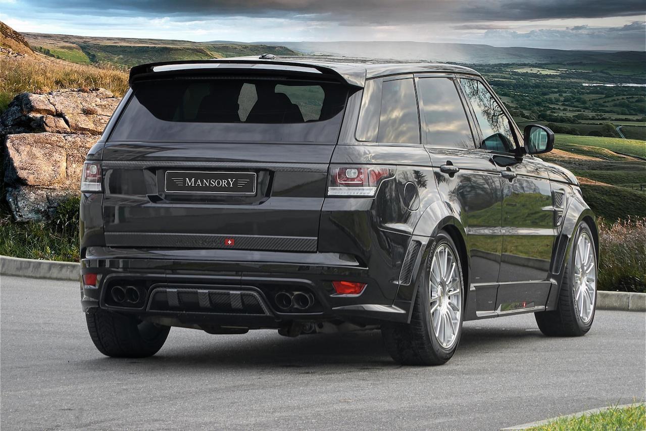 mansory range rover sport svr wide body kit carbon fiber rear bumper diffuser trunk spoiler roof spoiler wing over fender exhaust system tip m10 wheel rim