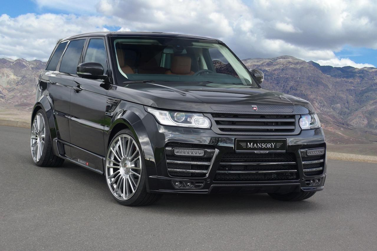 mansory range rover sport wide body kit I carbon fiber front bumper led drl over fender side skirt m10 wheel rim