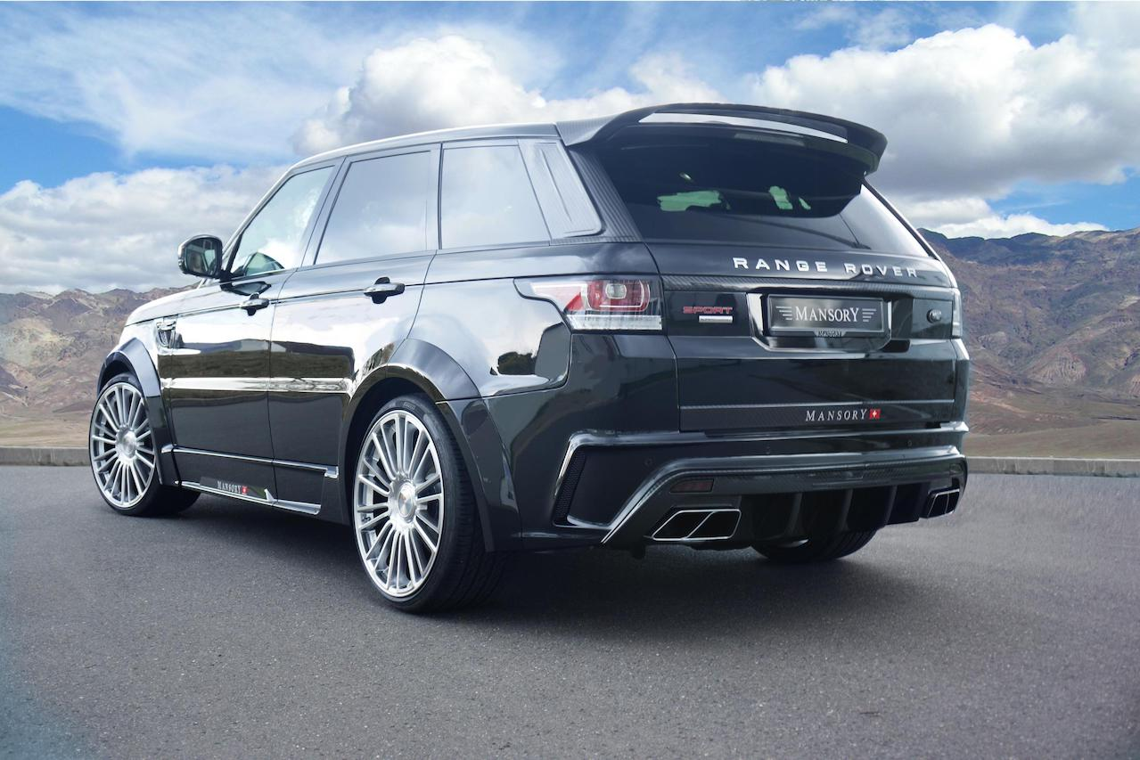 mansory range rover sport wide body kit I carbon fiber rear bumper diffuser exhaust system tip over fender side skirt roof spoiler wing m10 wheel rim