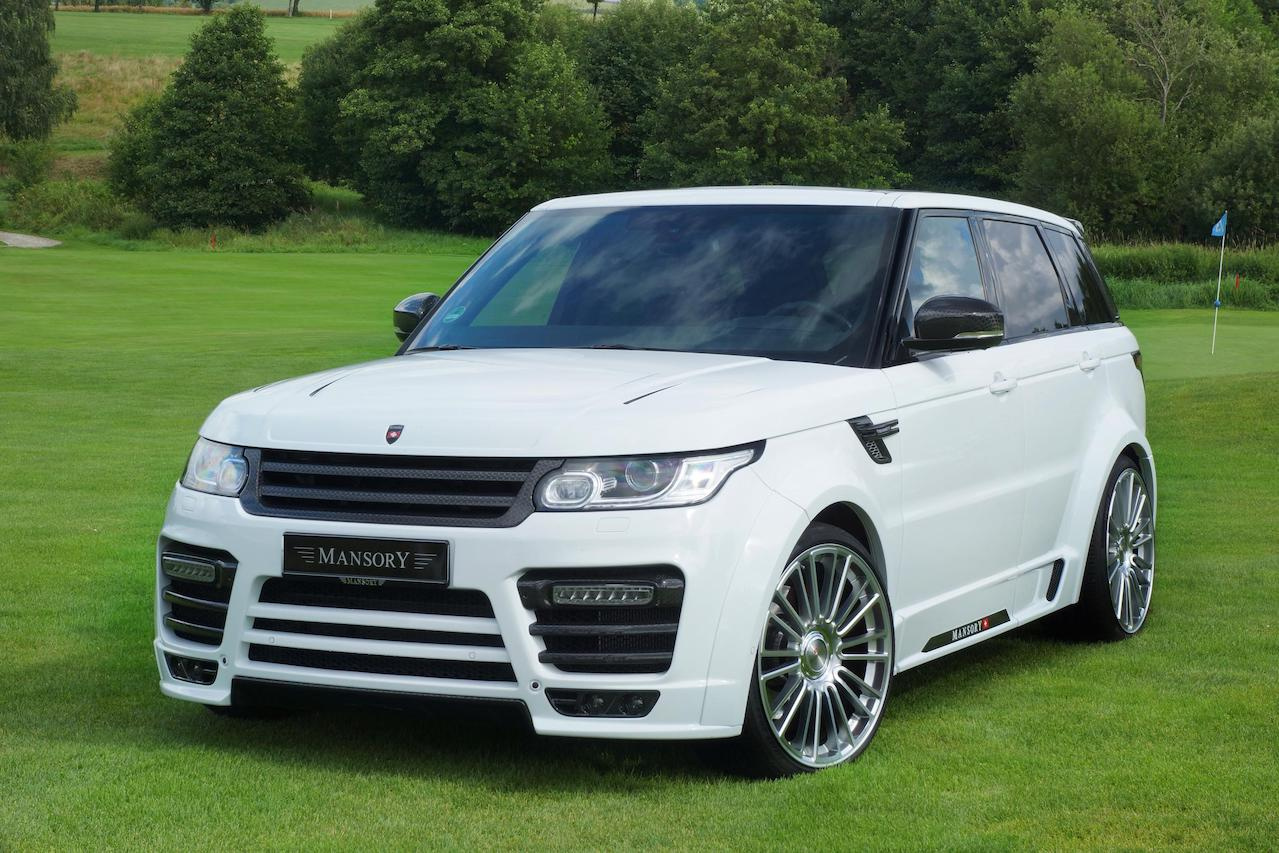 mansory range rover sport wide body kit I white carbon fiber front bumper over fender side skirt roof spoiler wing m10 wheel rim