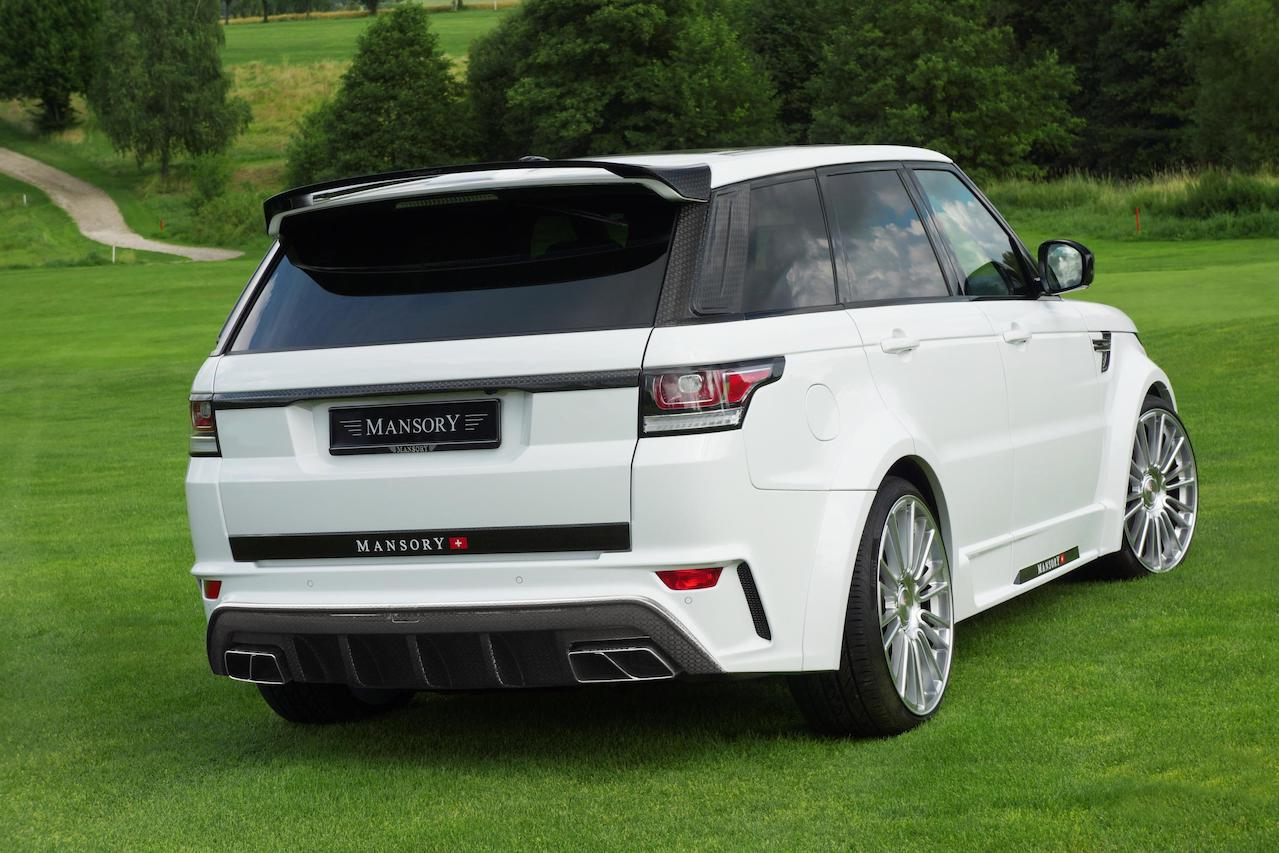 mansory range rover sport wide body kit I white carbon fiber rear bumper diffuser exhaust system tip over fender side skirt roof spoiler wing m10 wheel rim