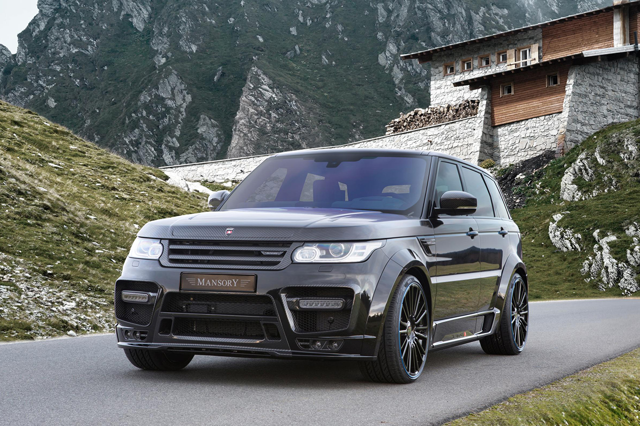 mansory range rover sport wide body kit II carbon fiber front bumper led drl over fender side skirt m10 wheel rim