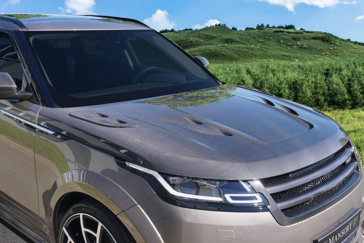 mansory range rover velar wide body kit carbon fiber front grill hood