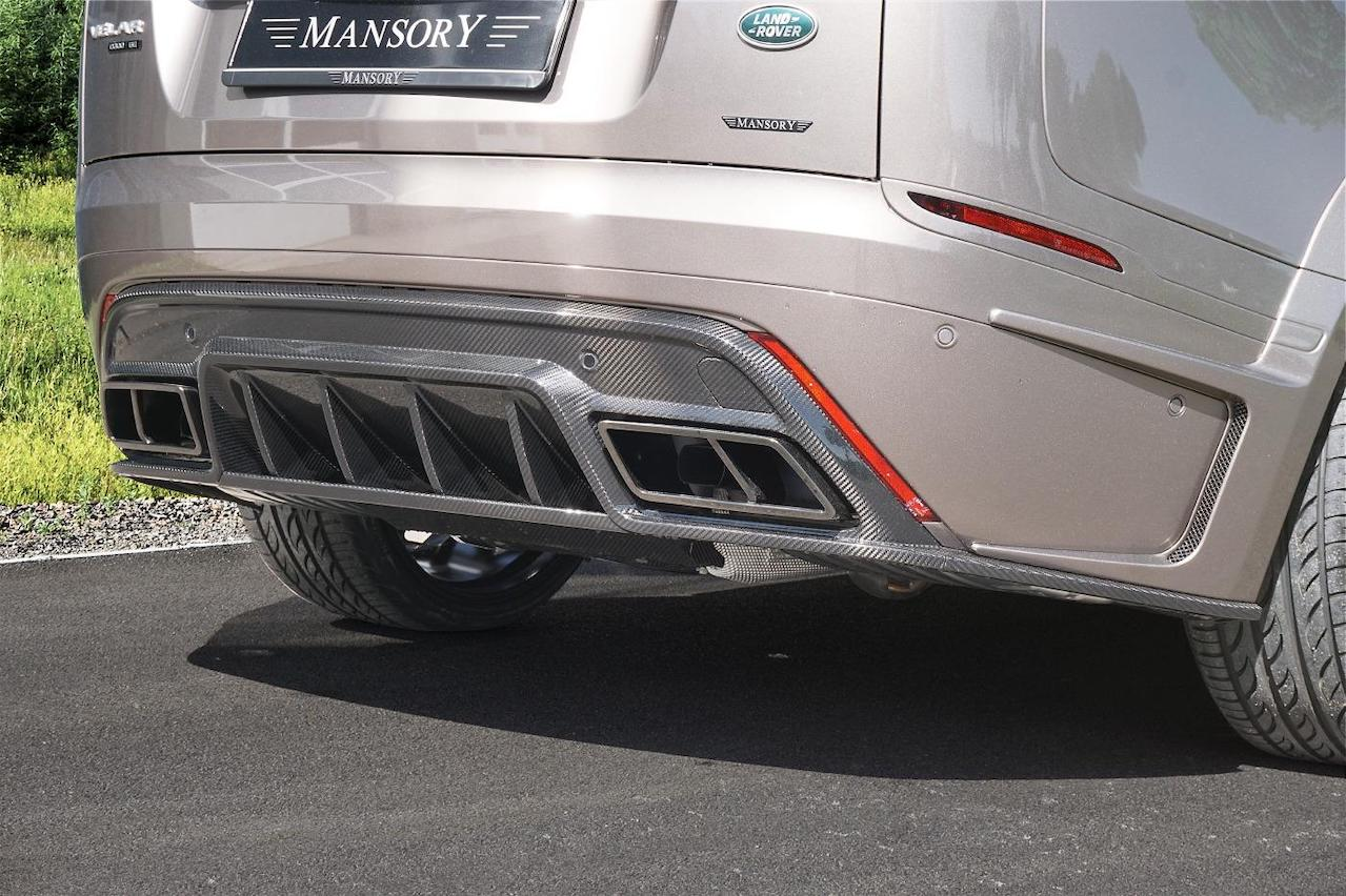 mansory range rover velar wide body kit carbon fiber rear diffuser exhaust system tip