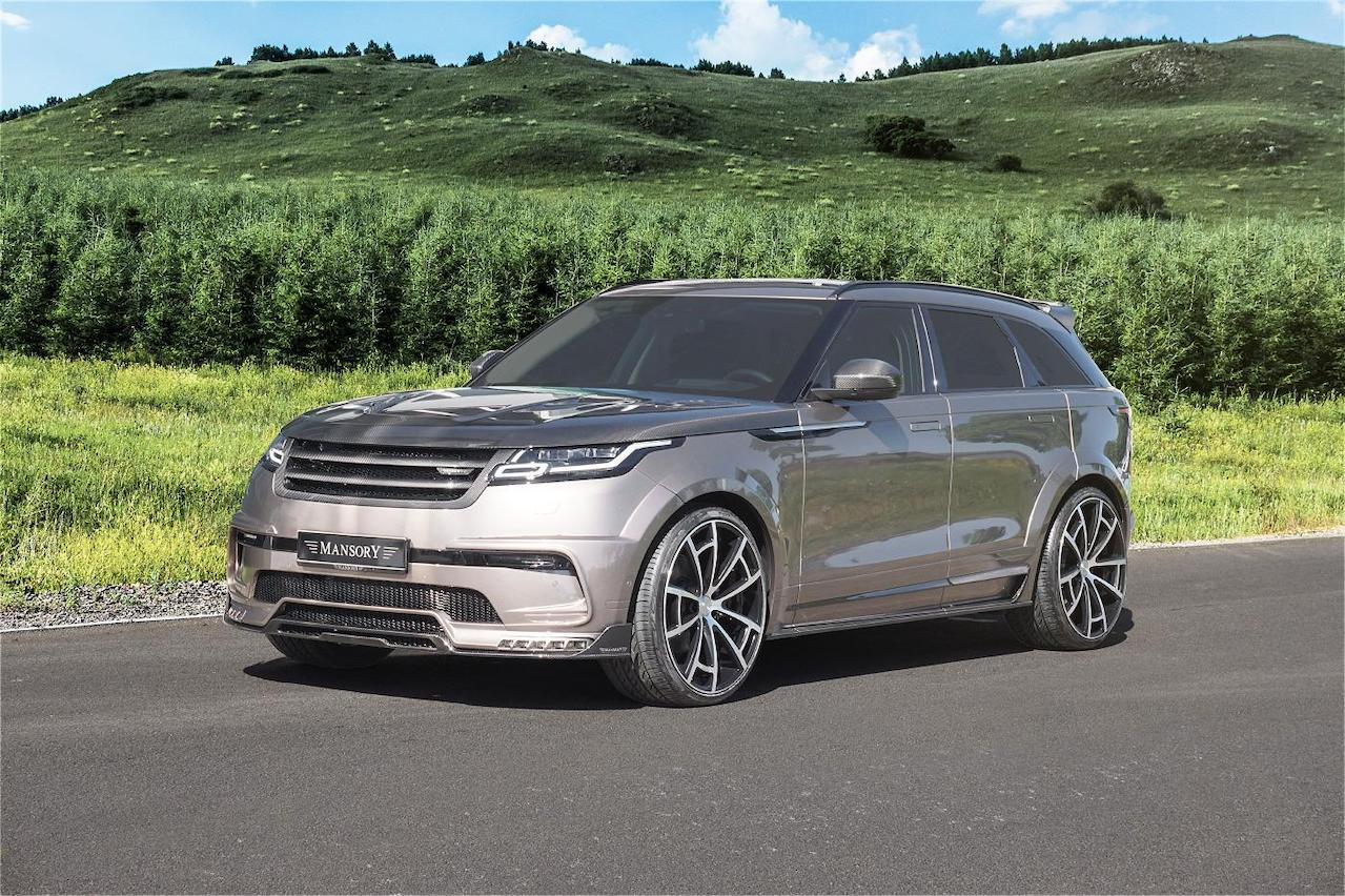 mansory range rover velar wide body kit front bumper over fender side skirt spider wheel rim