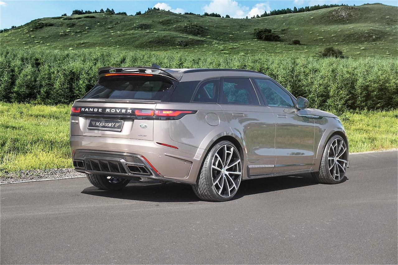 mansory range rover velar wide body kit rear bumper diffuser exhaust system roof spoiler over fender side skirt spider wheel rim