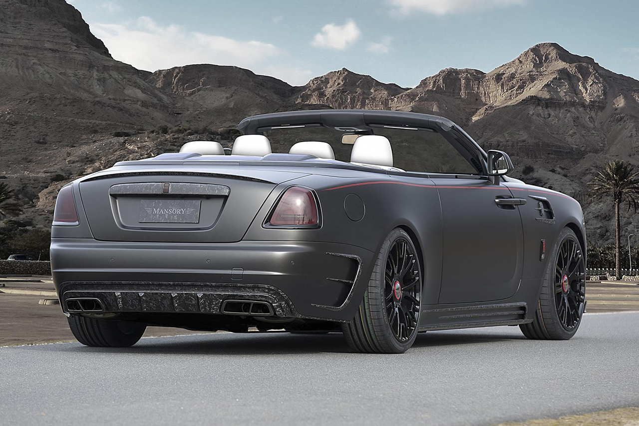 mansory rolls royce dawn body kit rear bumper carbon diffuser exhaust system side skirt fender v6 wheel rim black