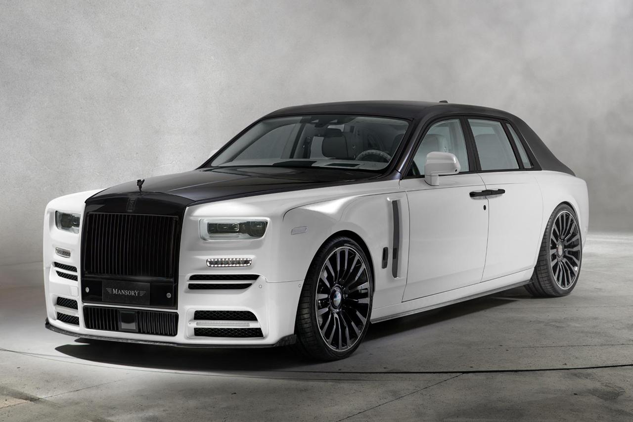 mansory rolls royce phantom viii 8 white black front bumper led drl fender side skirt m8 forged wheel rim