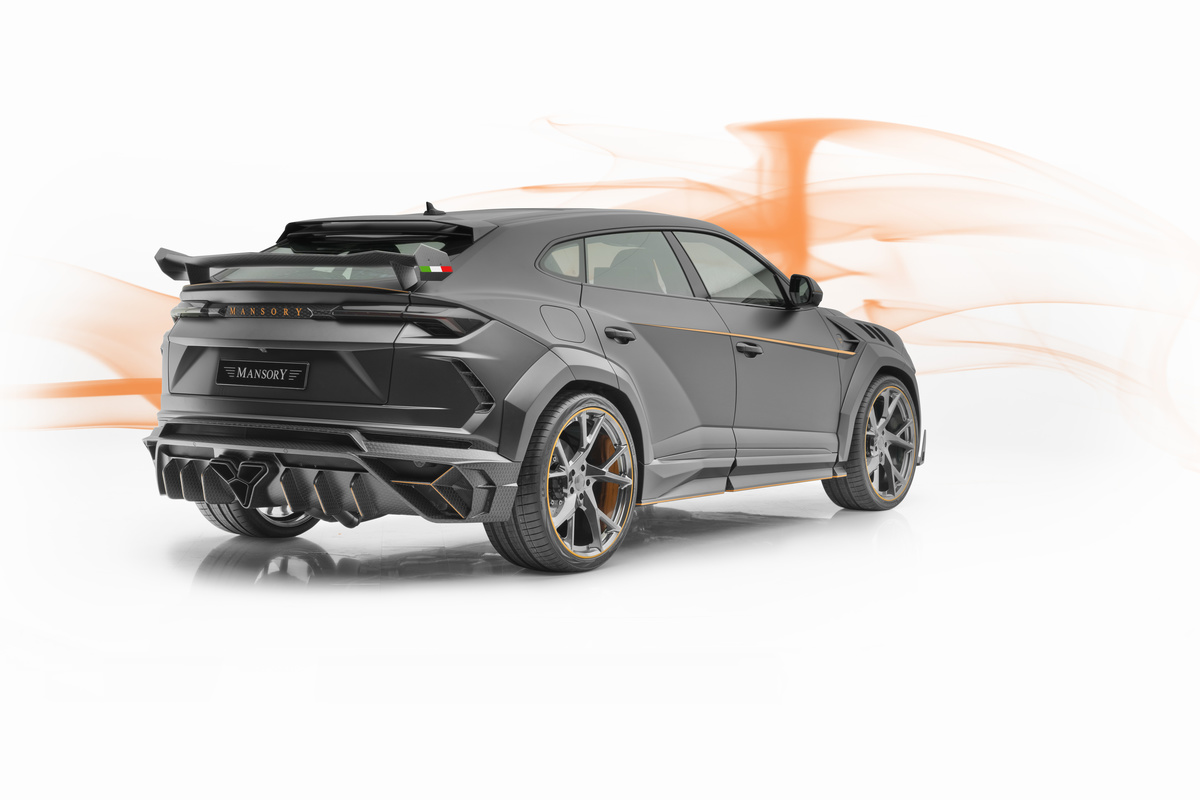 mansory lamborghini urus venatus carbon fiber wide body kit rear bumper diffuser exhaust system trunk wing spoiler roof spoiler rear over fender yn.5 forged wheel rim