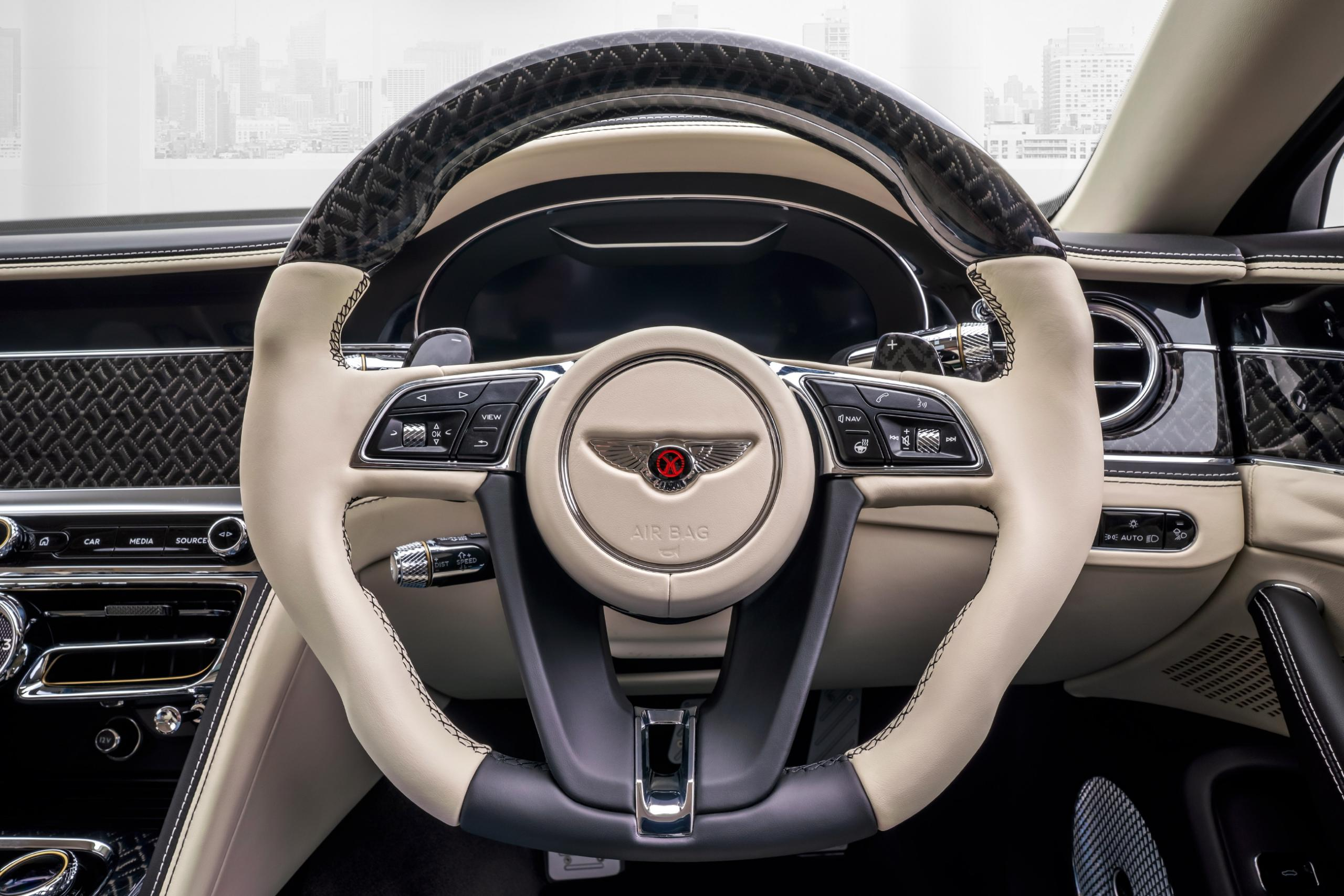 mansory bentley flying spur body kit interior carbon leather steering wheel
