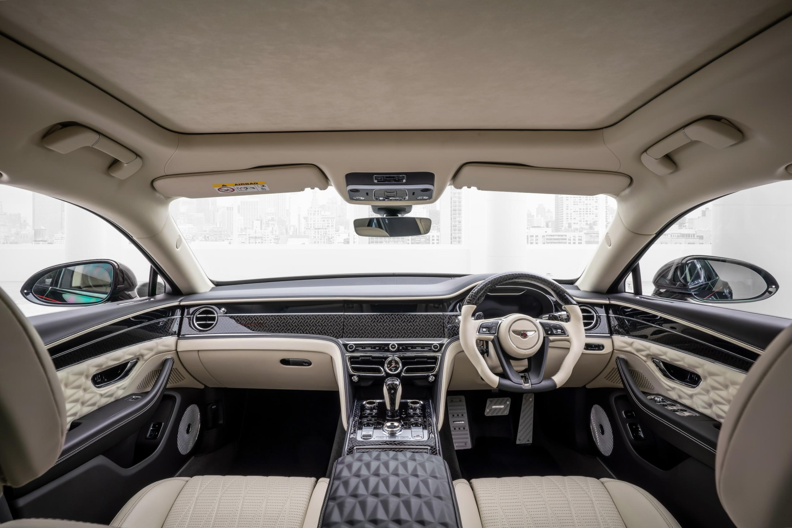 mansory bentley flying spur body kit interior front view steering wheel