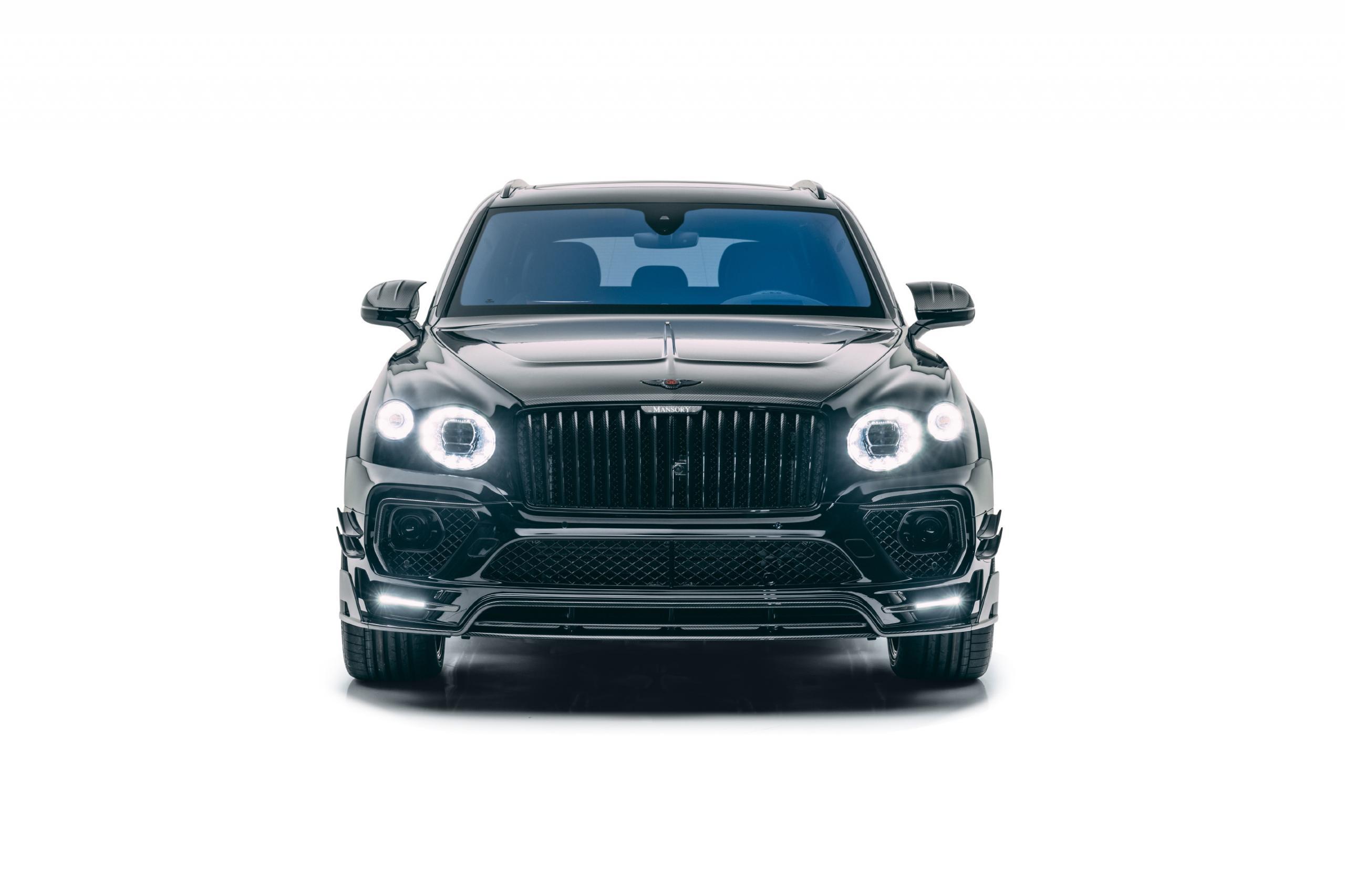 mansory new bentayga wide body kit carbon fiber front bumper led drl hood 2021