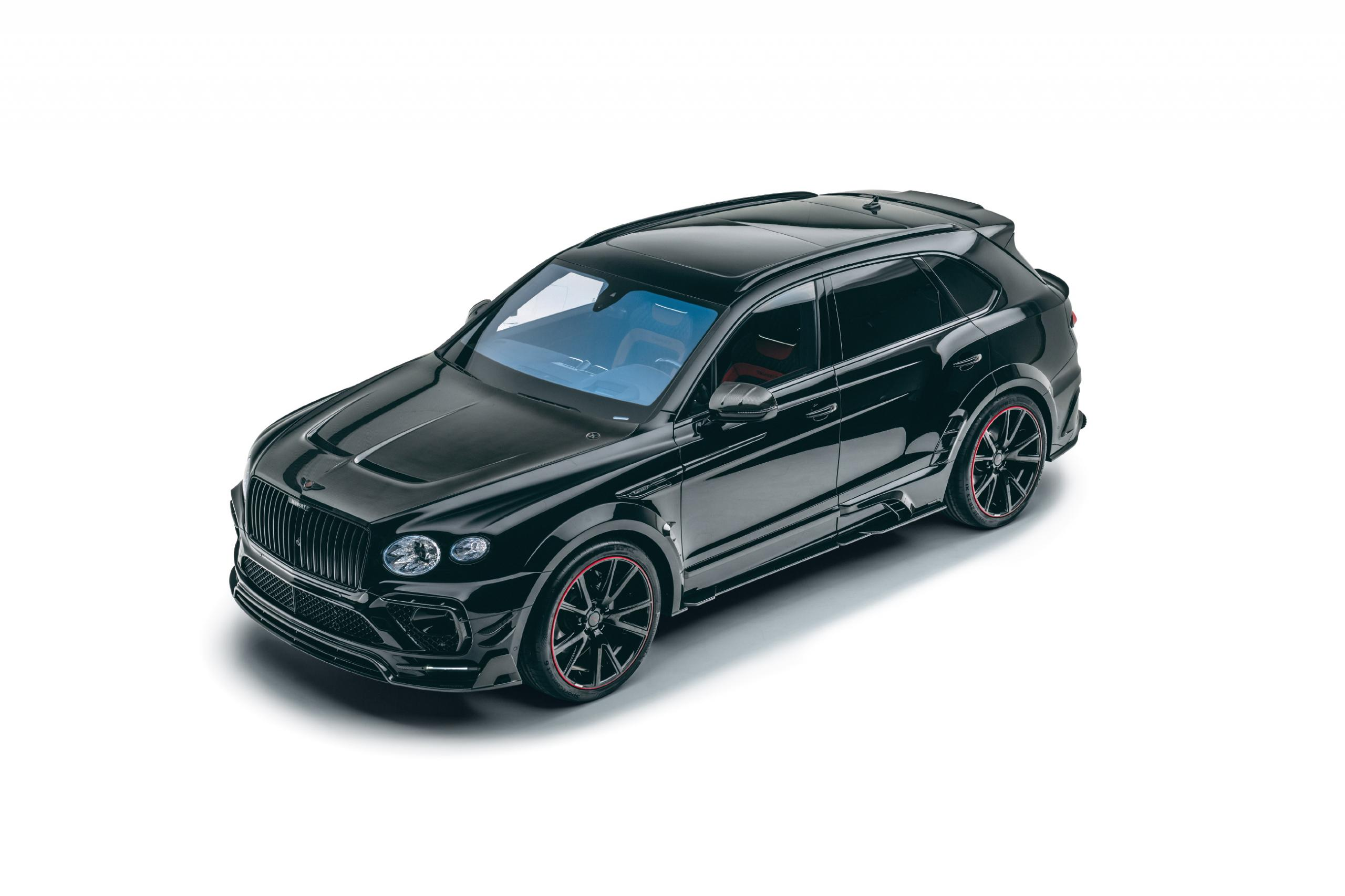 mansory new bentayga wide body kit carbon fiber y.5 23 wheel 2021 front angle
