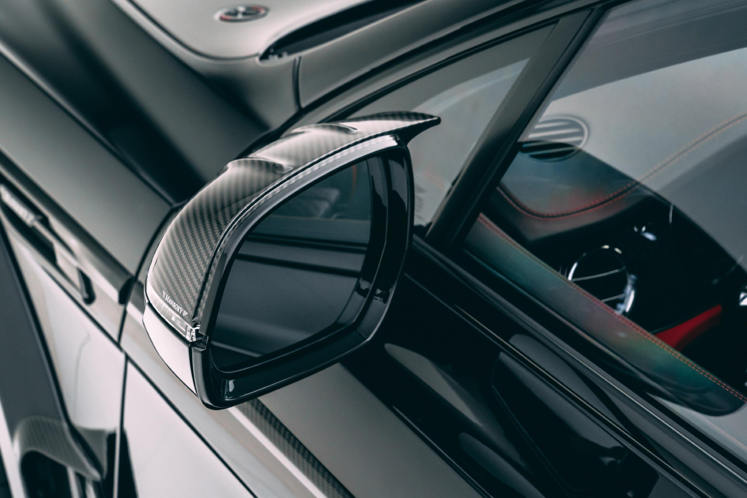 mansory new bentayga wide body kit carbon fiber mirror cover rear 2021