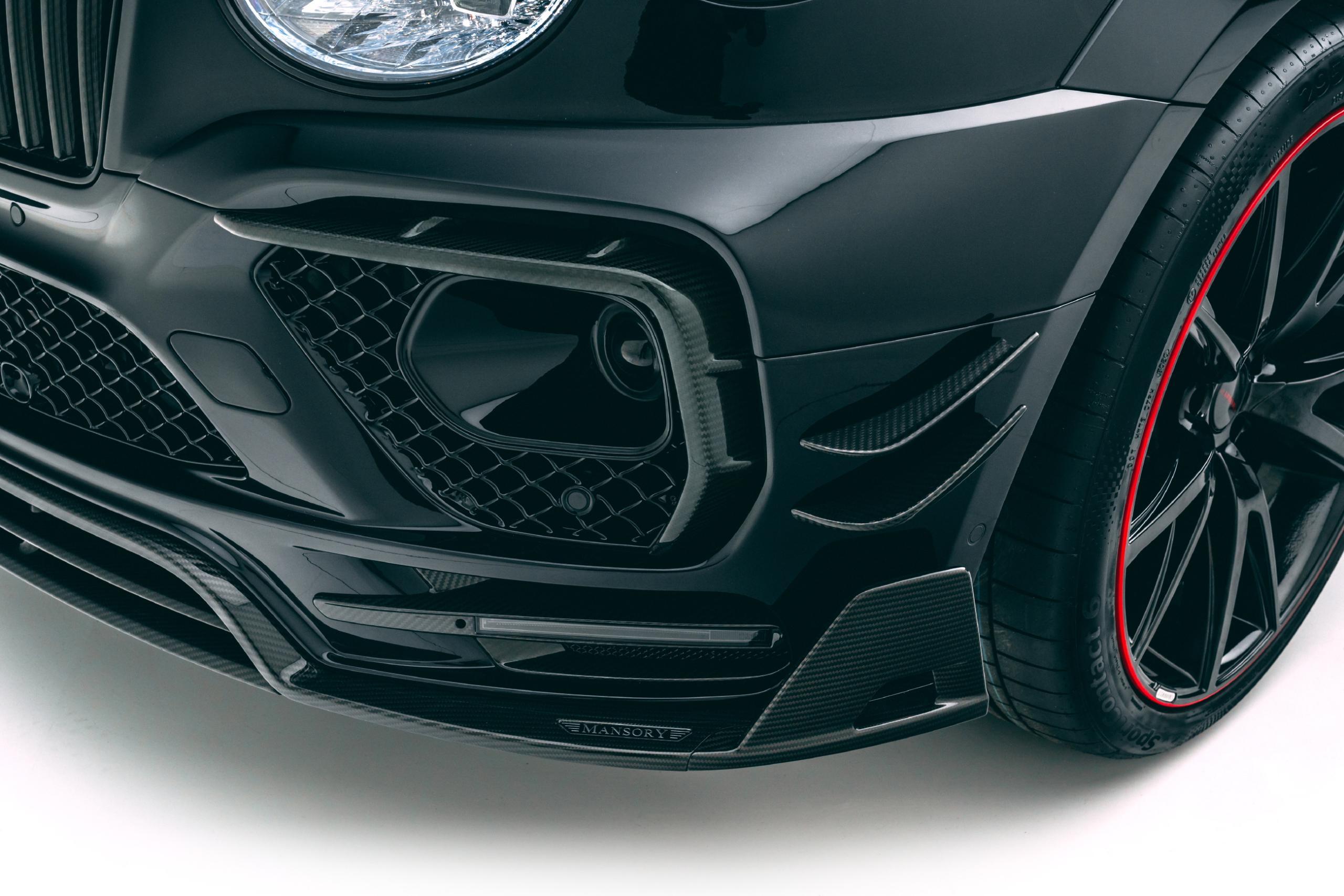 mansory new bentayga wide body kit carbon fiber front bumper led drl sfront splitter 2021