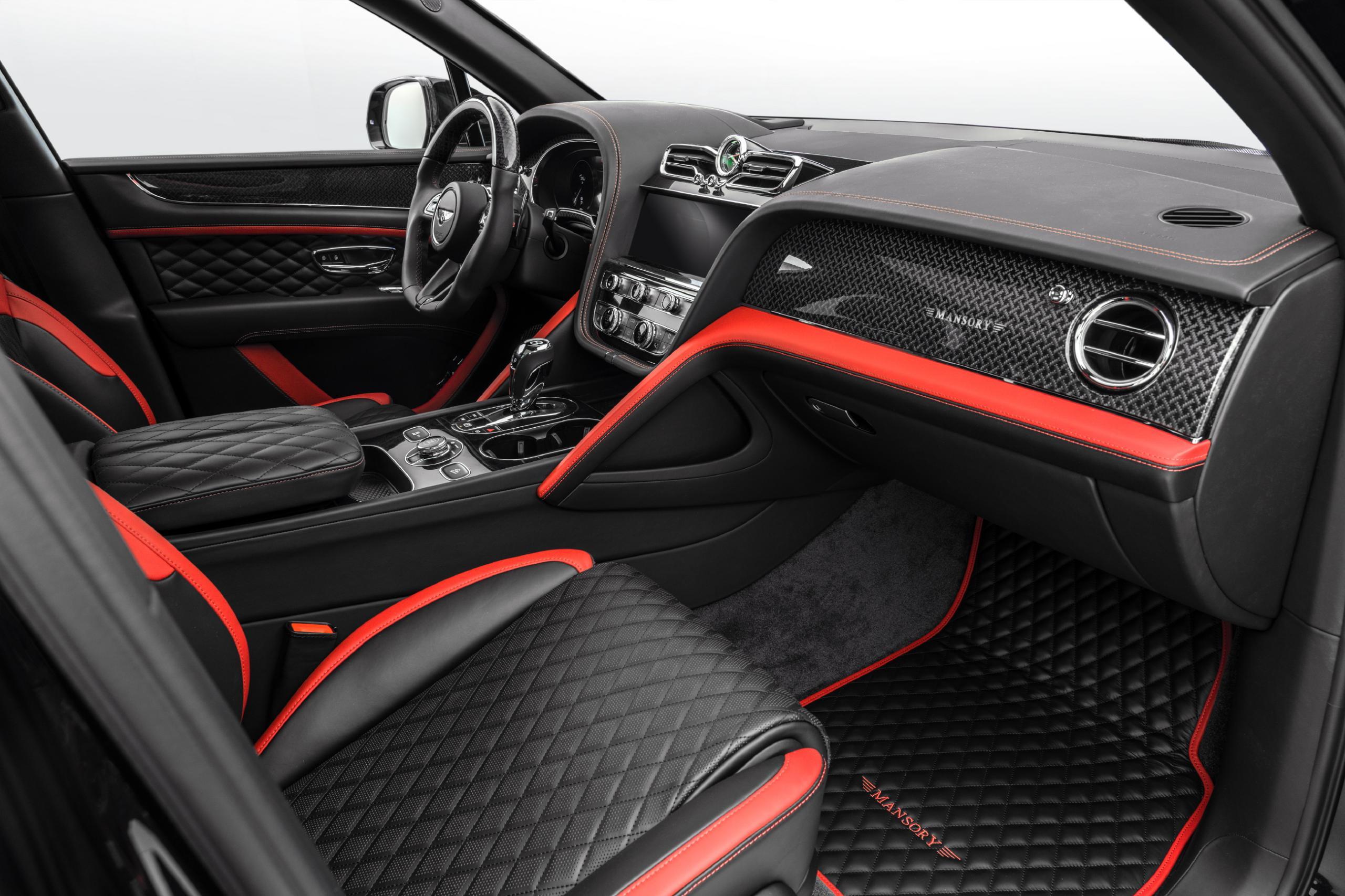 mansory new bentayga wide body kit carbon fiber bespoke leather interior 2021