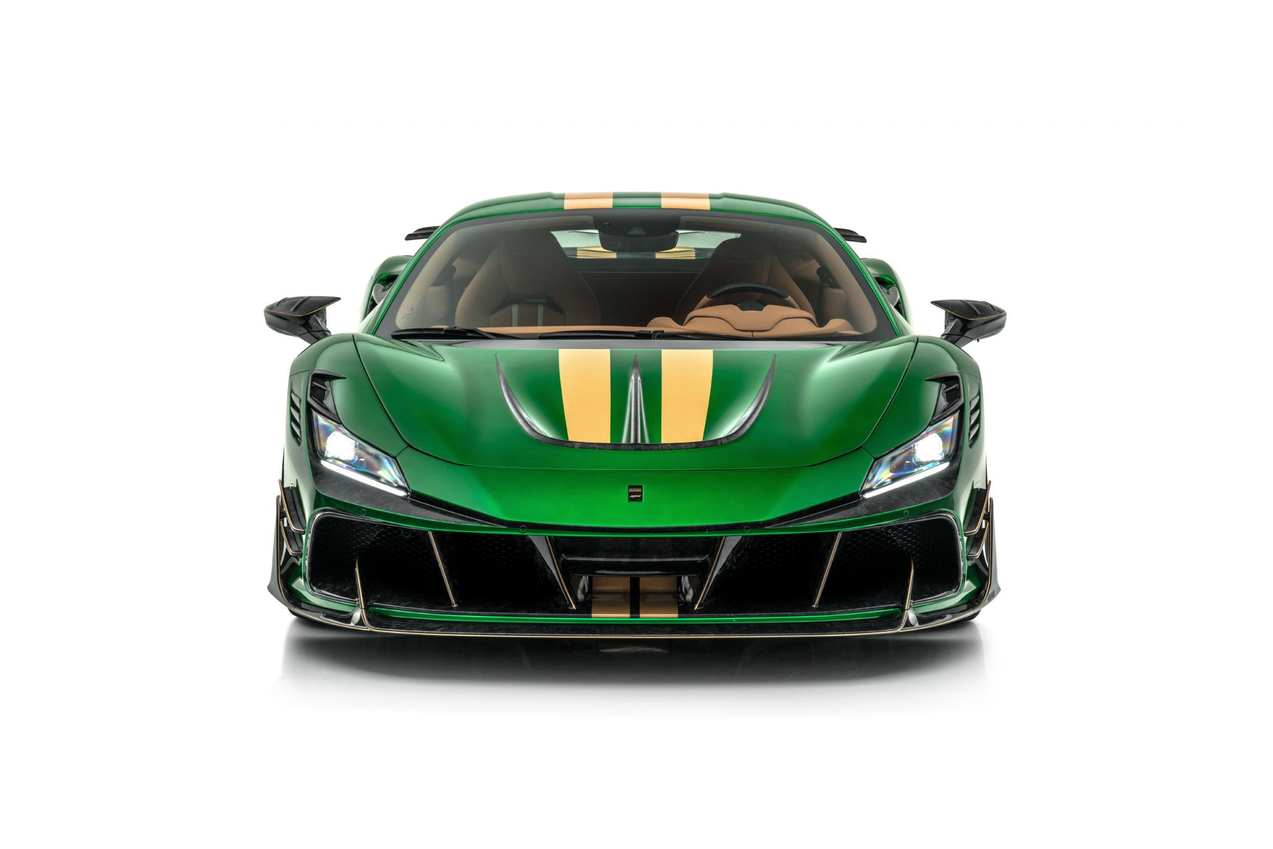 mansory f8xx ferrari f8 body kit front bumper hood carbon fiber 2020 2021 front angle
