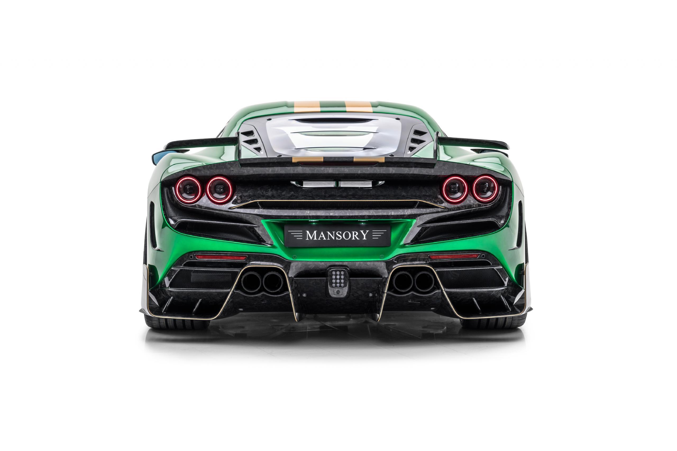 mansory f8xx ferrari f8 body kit carbon fiber rear bumper rear wing spoiler exhaust 2020 2021