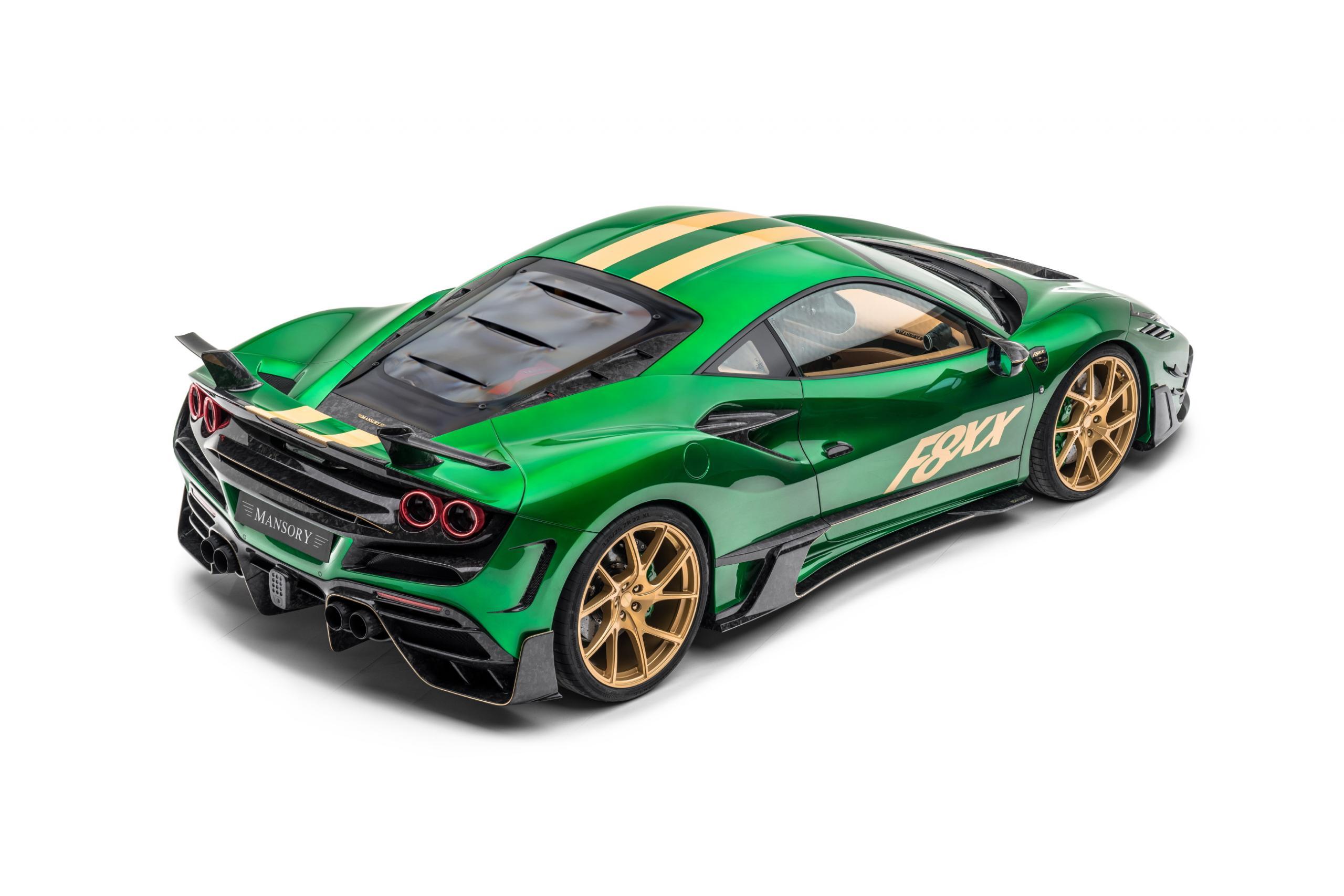 mansory f8xx ferrari f8 body kit carbon fiber rear bumper rear spoiler y.5 forged wheel 2020 2021 rear top angle