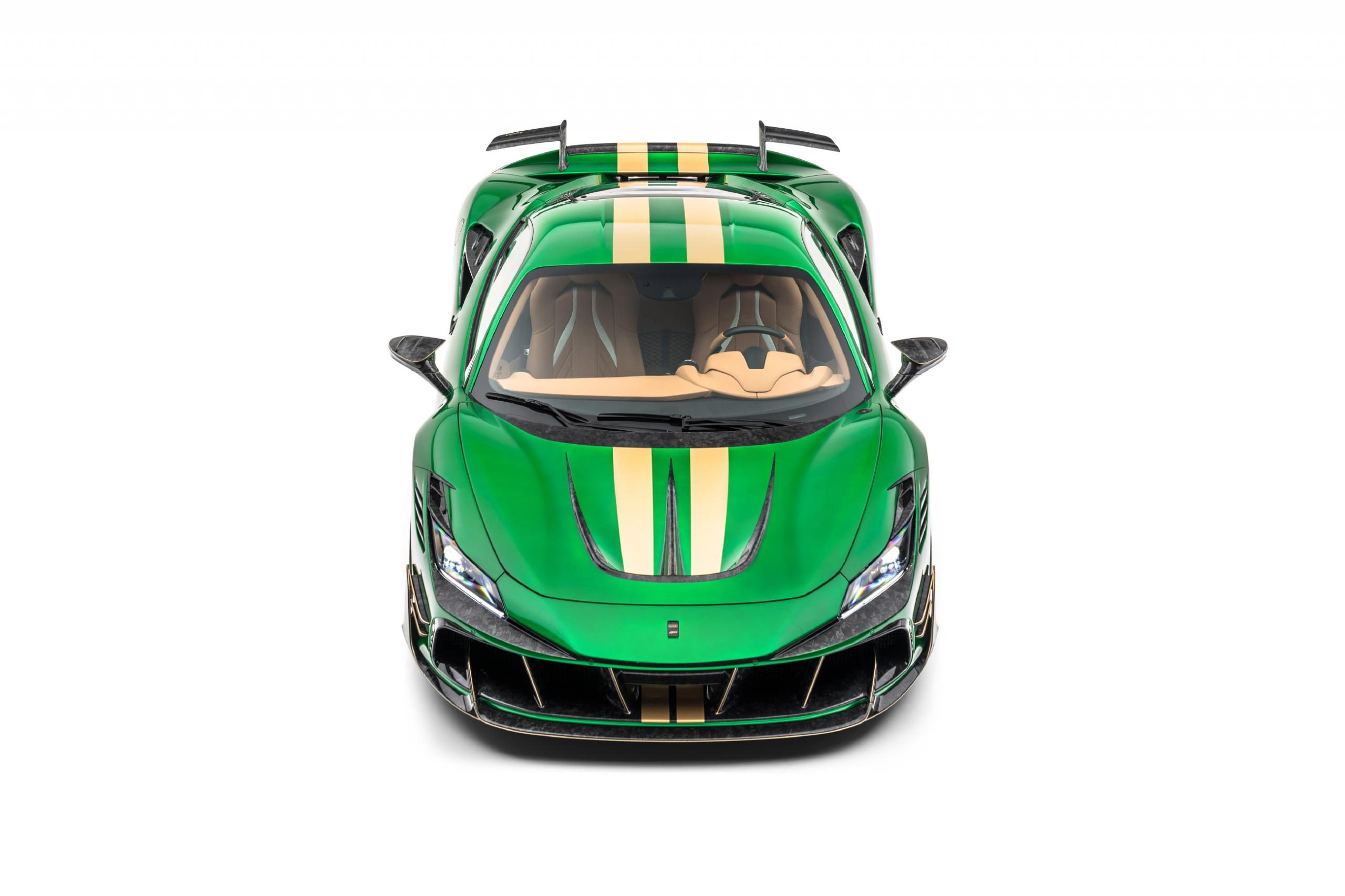 mansory f8xx ferrari f8 body kit carbon fiber front bumper hood top angle 2020 2021