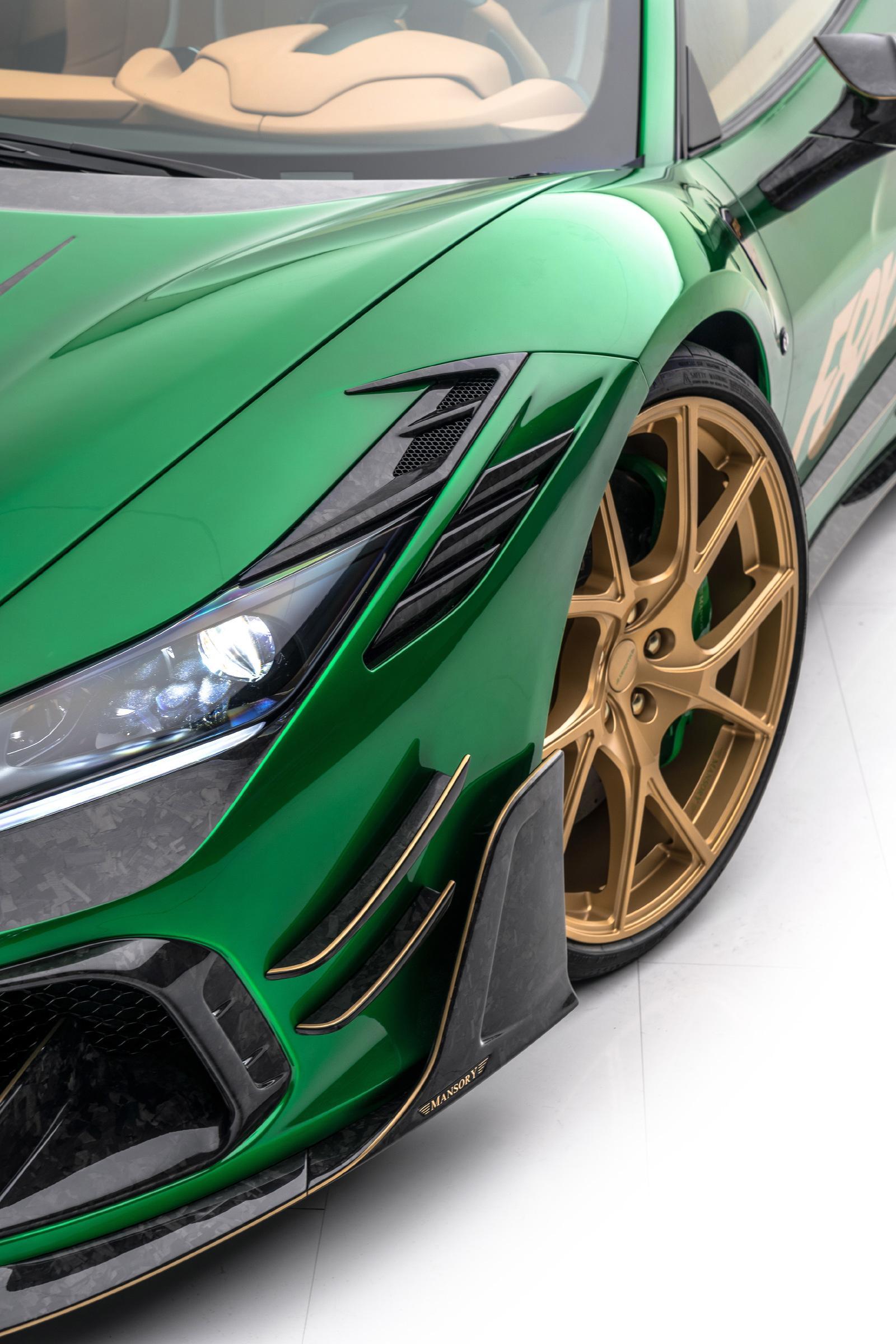 mansory f8xx ferrari f8 body kit carbon fiber front bumper y.5 wheel 2020 2021