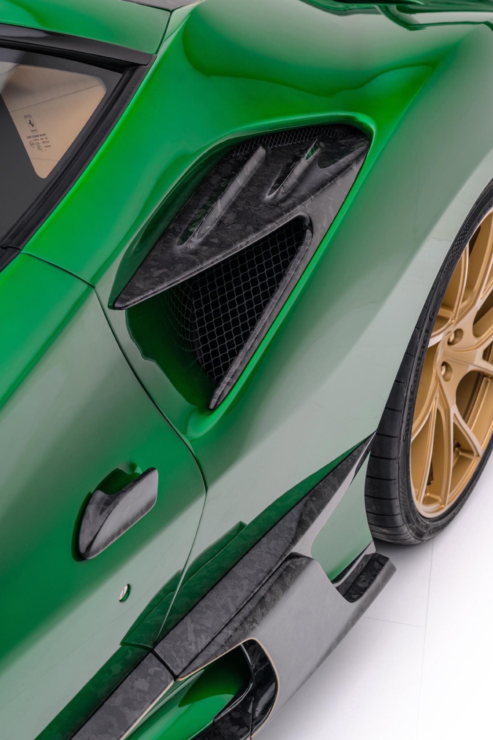 mansory f8xx ferrari f8 body kit carbon fiber rear fender air intake splitter 2020 2021