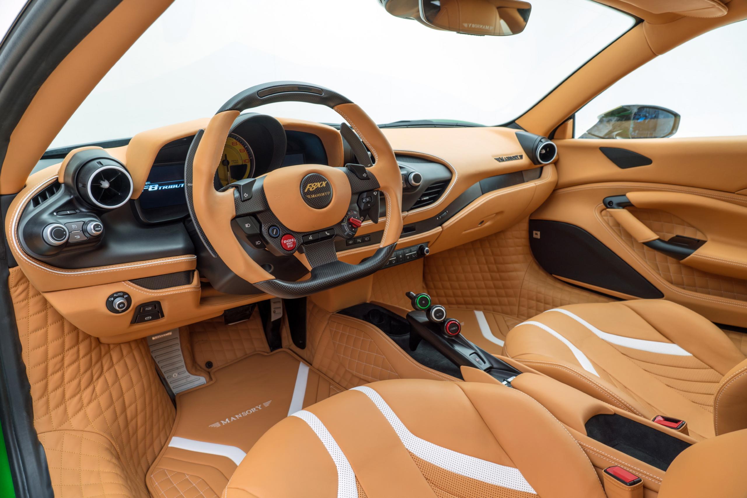 mansory f8xx ferrari f8 body kit carbon fiber steering wheel leather bespoke interior wheel 2020 2021