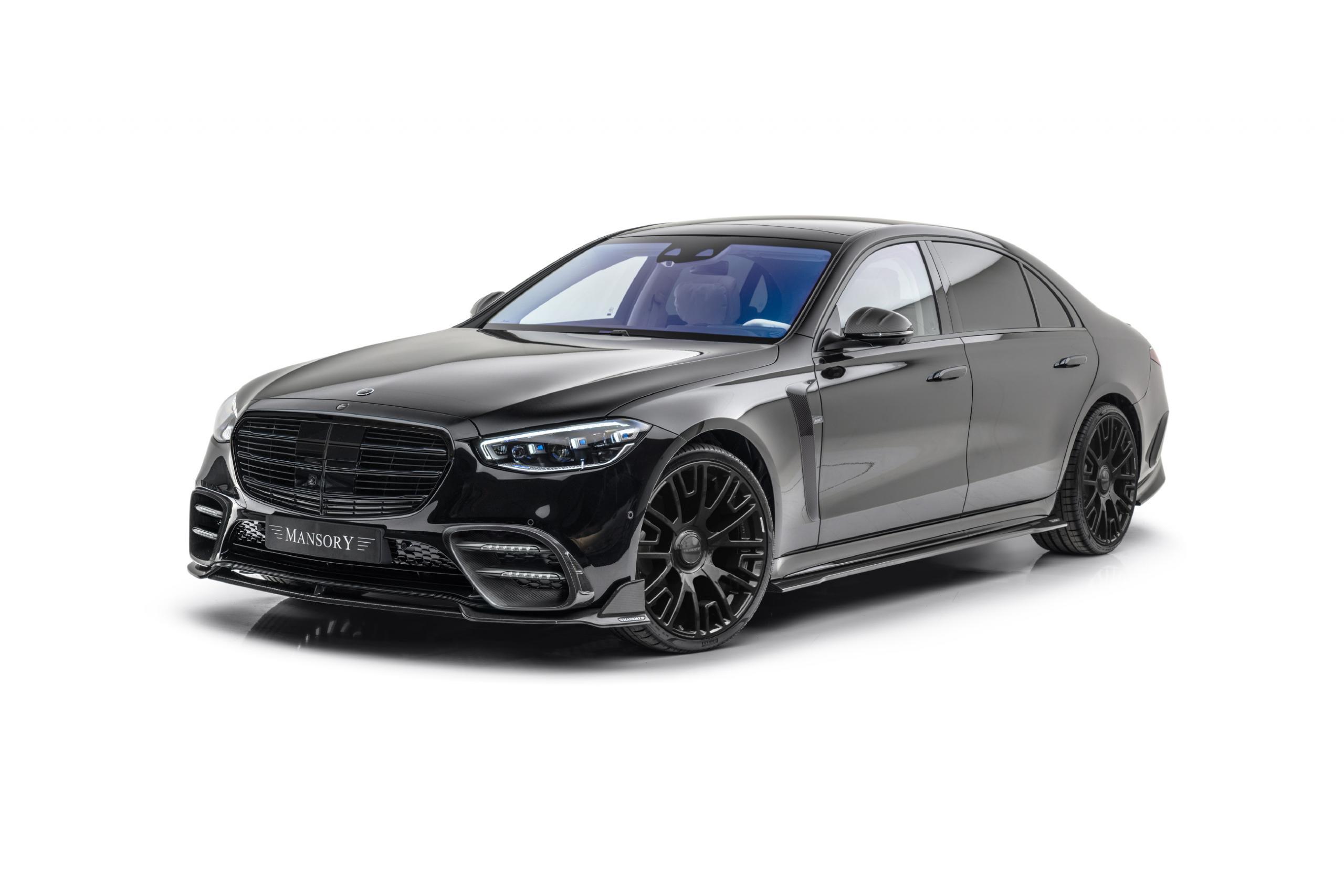 mansory w223 mercedes s class body kit carbon fiber front lip air intake fender mirror cover side skirt set gloss black v6 22 wheel 2021 2022 2023
