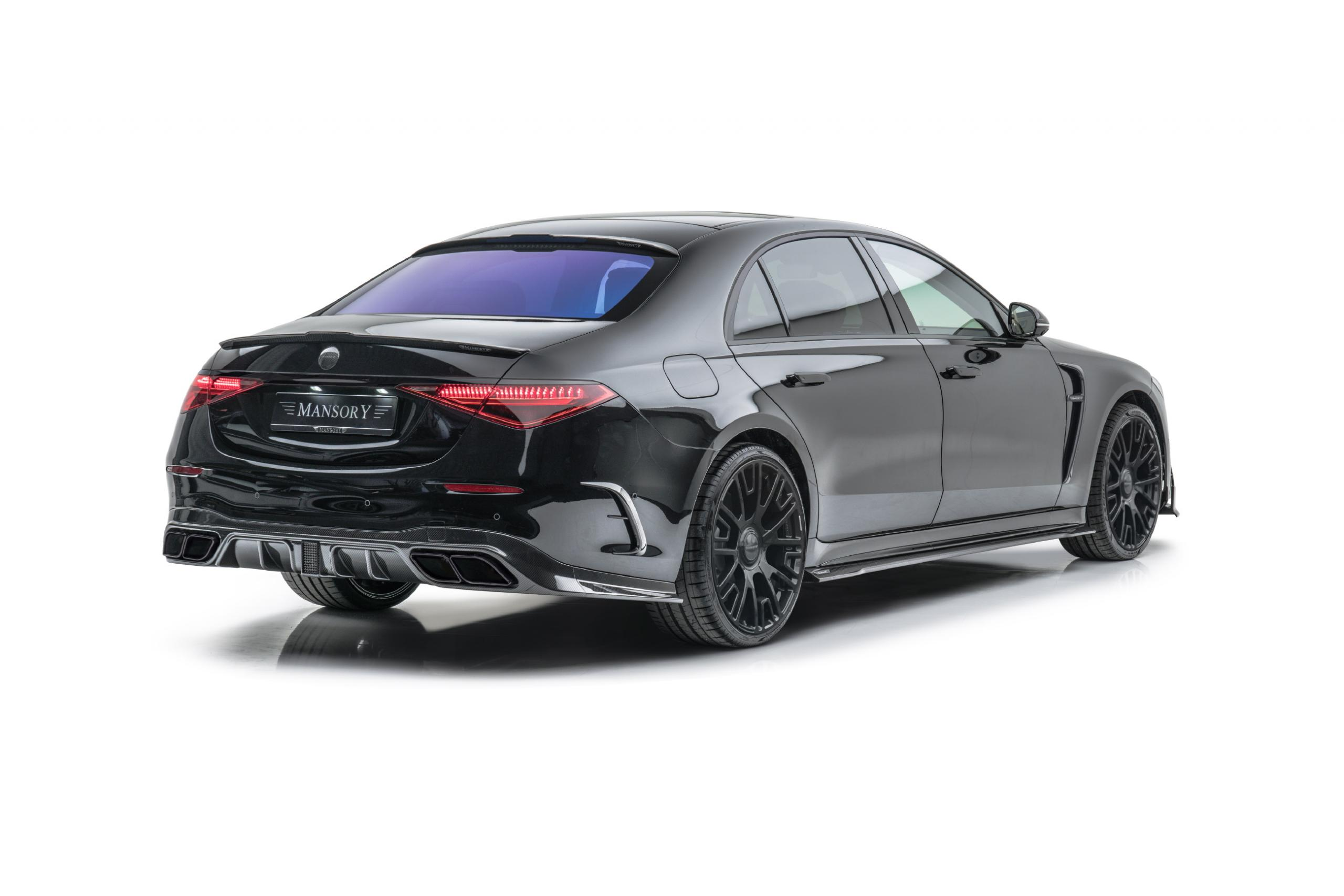 mansory w223 mercedes s class body kit carbon fiber rear apron trunk spoiler rear bumper air outtake roof spoiler gloss black v6 22 wheel 2021 2022 2023