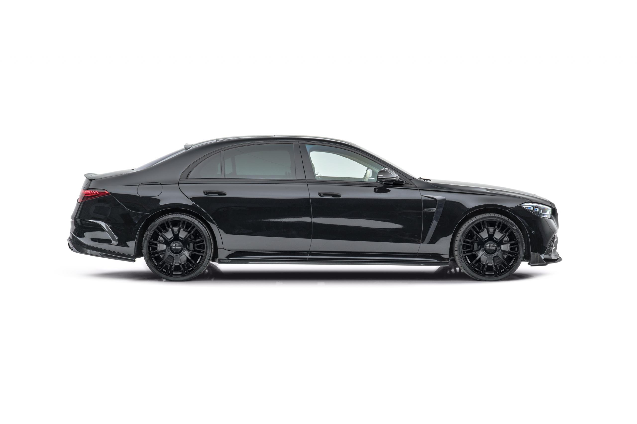 mansory w223 mercedes s class body kit carbon fiber fender mirror cover side skirt set gloss black v6 22 wheel 2021 2022 2023