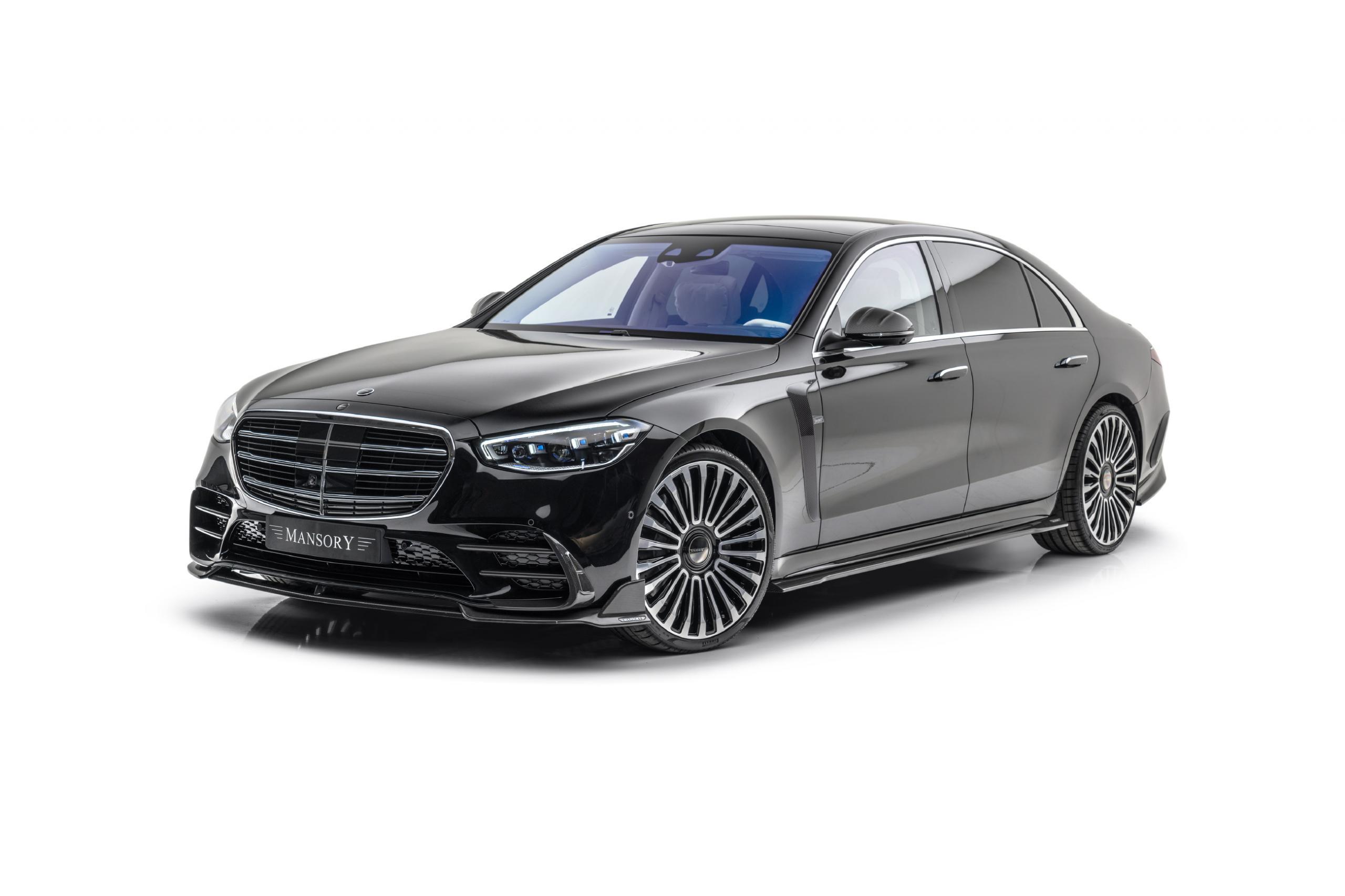 mansory w223 mercedes s class body kit carbon fiber front lip air intake fender mirror cover side skirt set cs11 22 wheel 2021 2022 2023