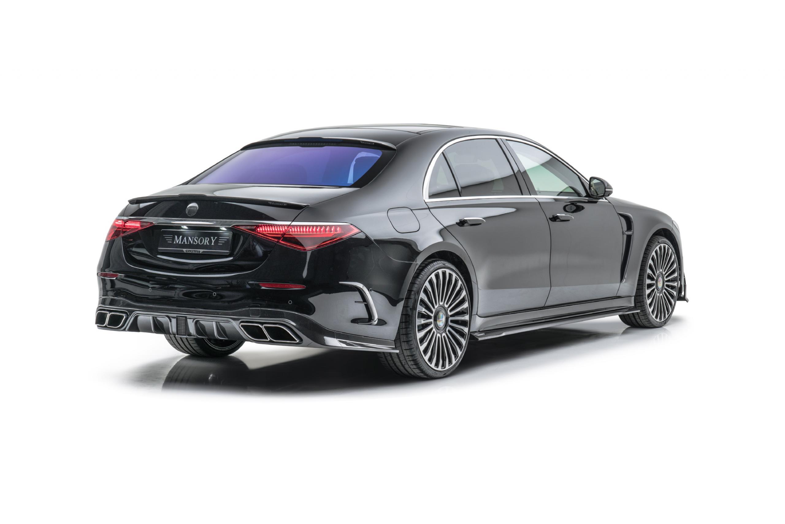 mansory w223 mercedes s class body kit carbon fiber rear apron trunk spoiler rear bumper air outtake roof spoiler cs11 22 wheel 2021 2022 2023