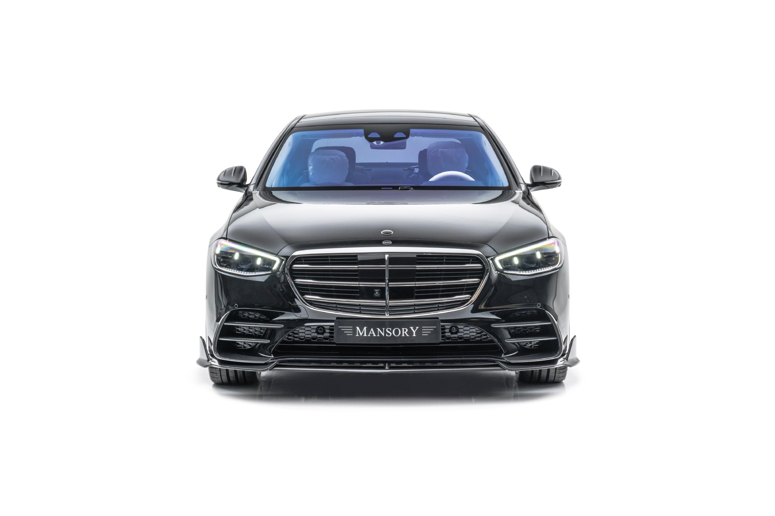 mansory w223 mercedes s class body kit carbon fiber front lip front grill 2021 2022 2023