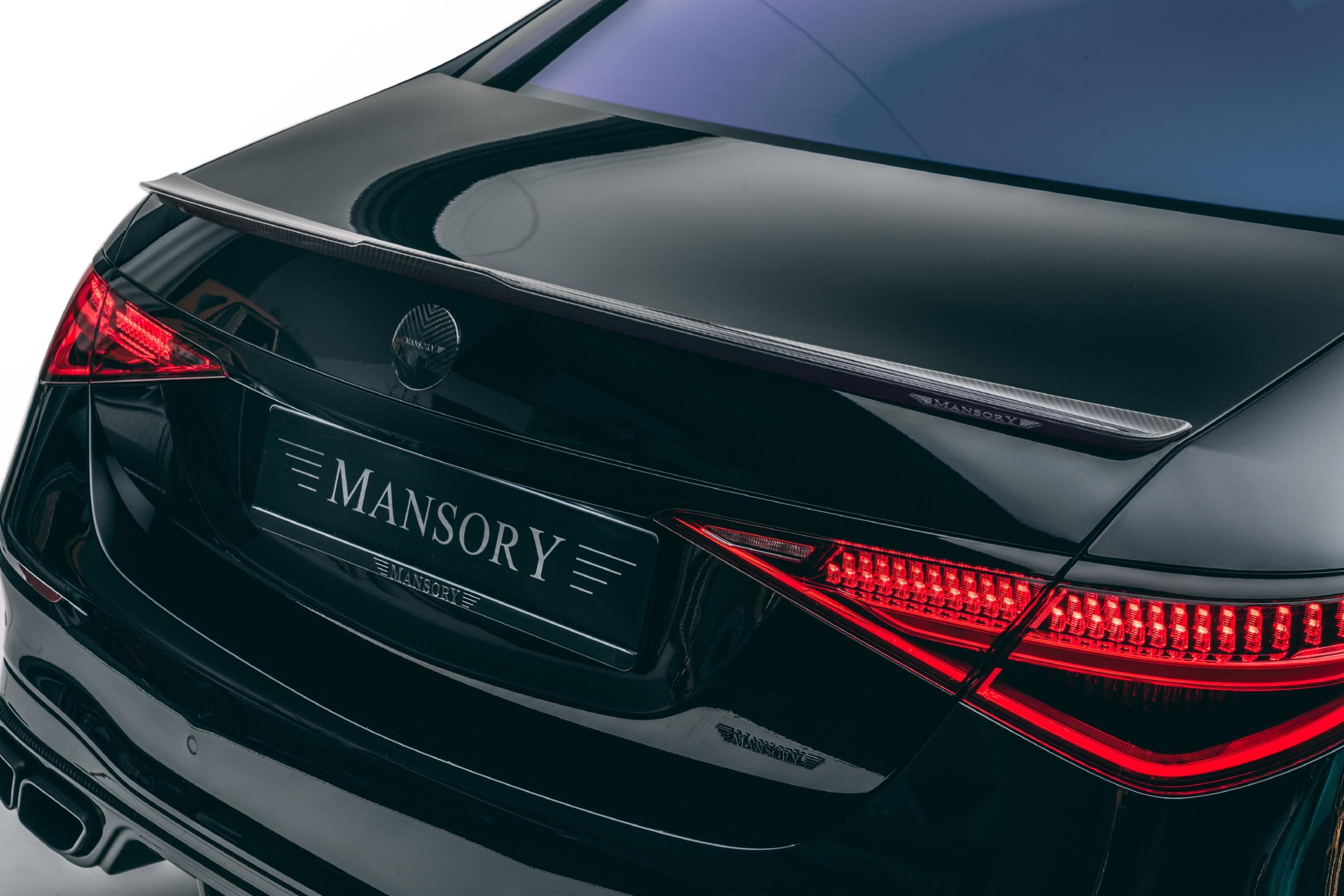 mansory w223 mercedes s class body kit carbon fiber sport rear deck lid spoiler trunk wing 2021 2022 2023