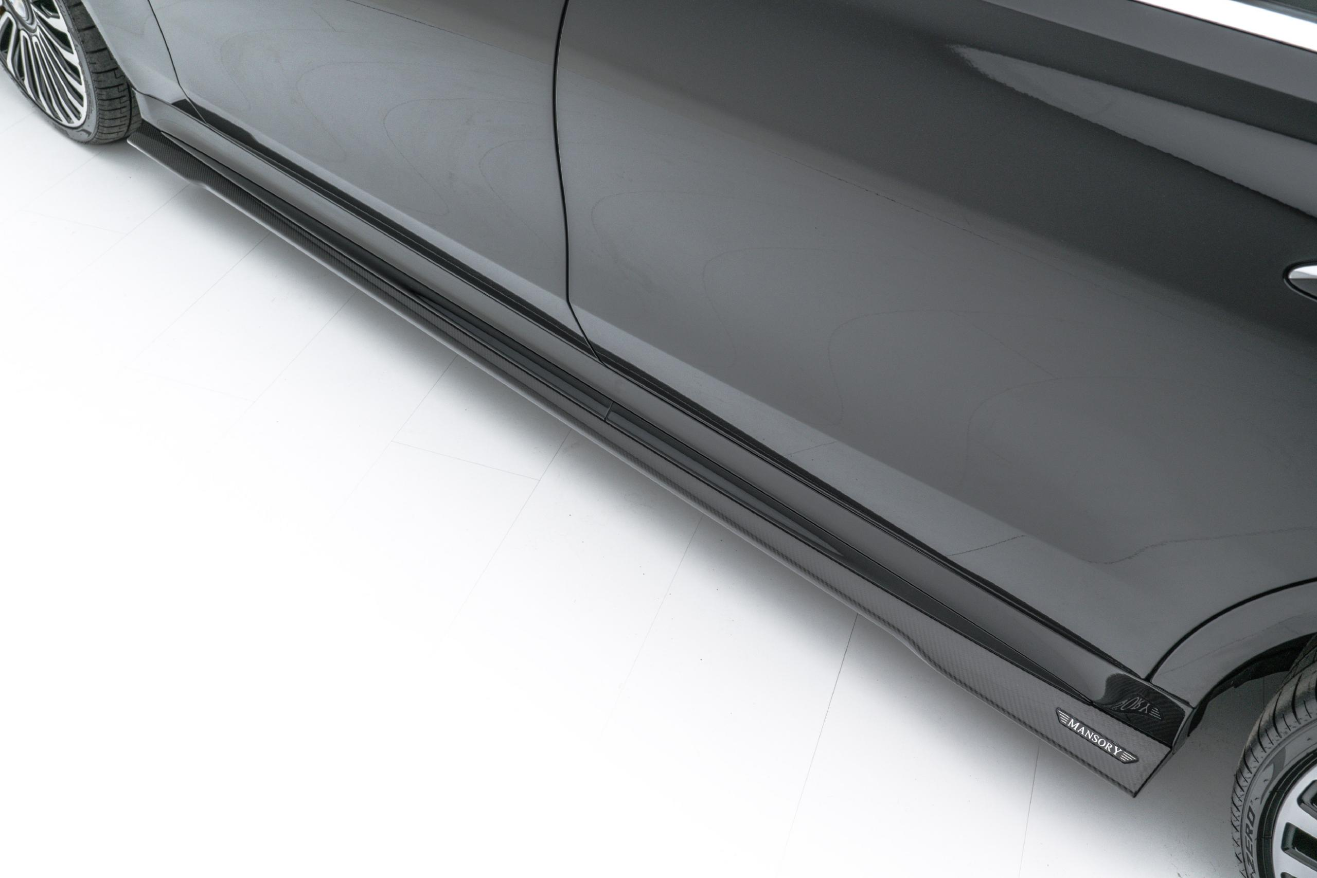 mansory w223 mercedes s class body kit carbon fiber side skirt set 2021 2022 2023
