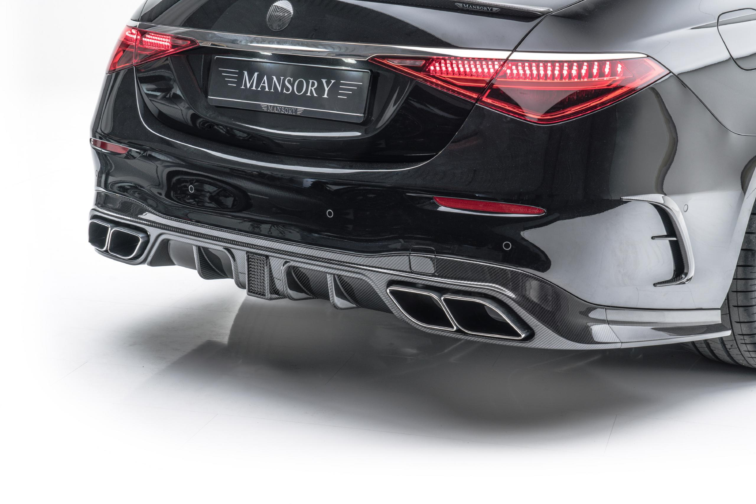 mansory w223 mercedes s class body kit carbon fiber rear diffuser with race brake light exhaust blinds tips 2021 2022 2023